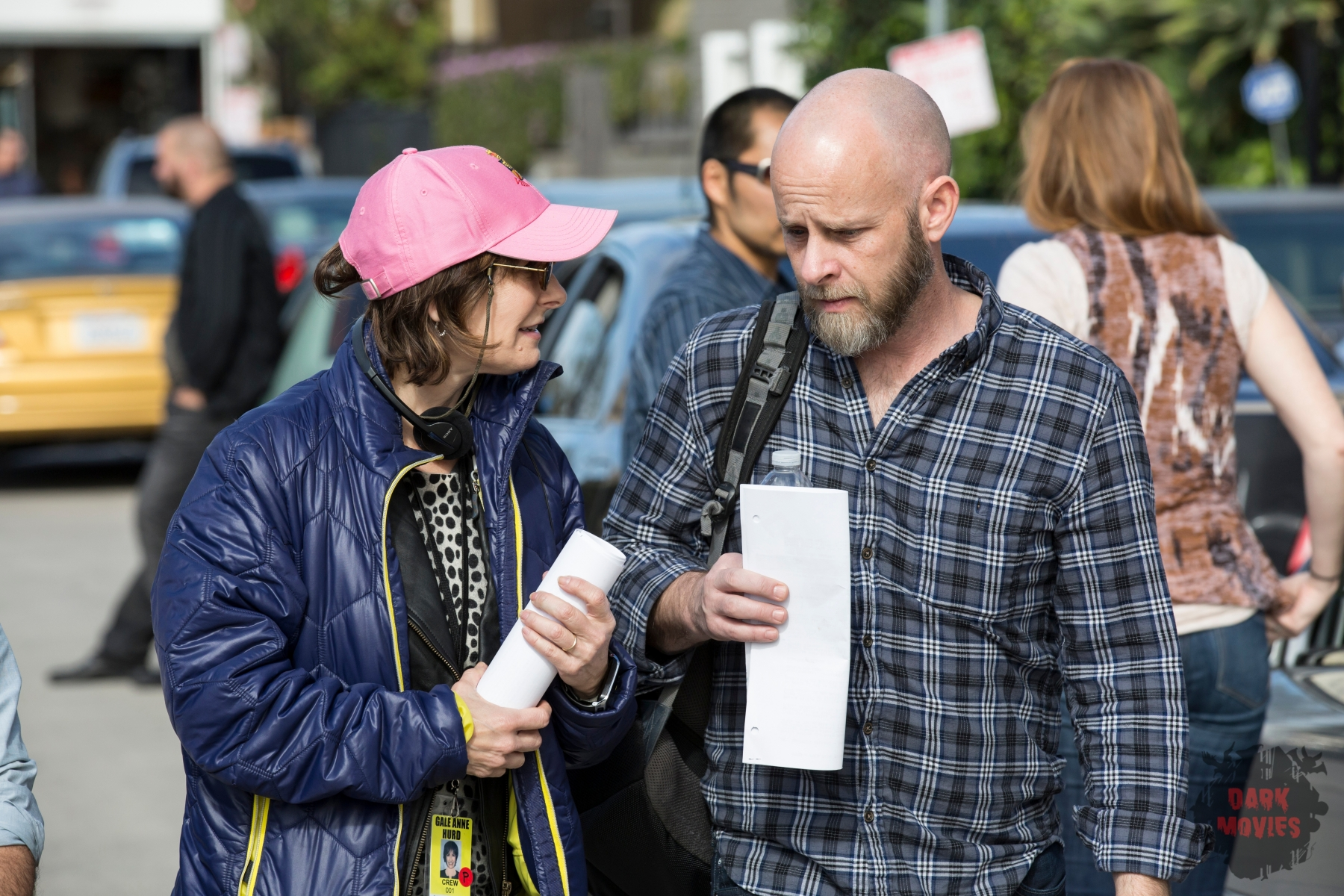 Executive Producer Gale Ann Hurd and Executive Producer/Showrunner Dave Erickson - Fear the Walking Dead _ Season 1, Episode 1 - Photo Credit: Justin Lubin/AMC