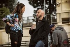 Alycia Debnam Carey as Alicia and Executive Producer/Showrunner Dave Erickson - Fear the Walking Dead _ Season 1, Episode 1 - Photo Credit: Justin Lubin/AMC