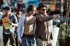 Frank Dillane as Nick and Co-Executive Producer Adam Davidson - Fear The Walking Dead _ Season 1, Episode 1 - Photo Credit: Justin Lubin/AMC