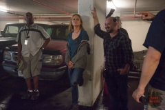 Kim Dickens as Madison and David Wiener co-executive producer - Fear The Walking Dead _ Season 1, Episode 6 - Photo Credit: Justina Mintz/AMC
