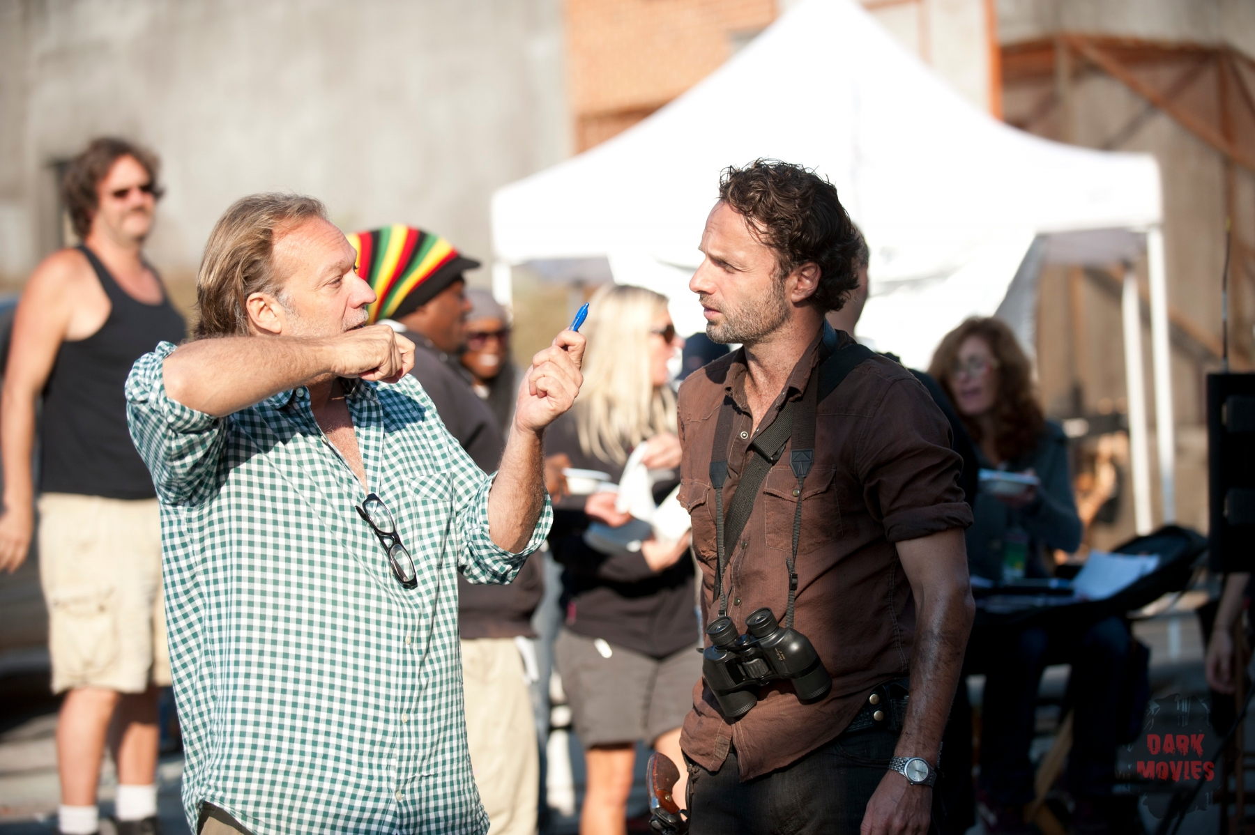 Co-Executive Producer/SFX Make-Up Supervisor Greg Nicotero and Rick Grimes (Andrew Lincoln) - The Walking Dead - Season 3, Episode 11 - Photo Credit: Gene Page/AMC