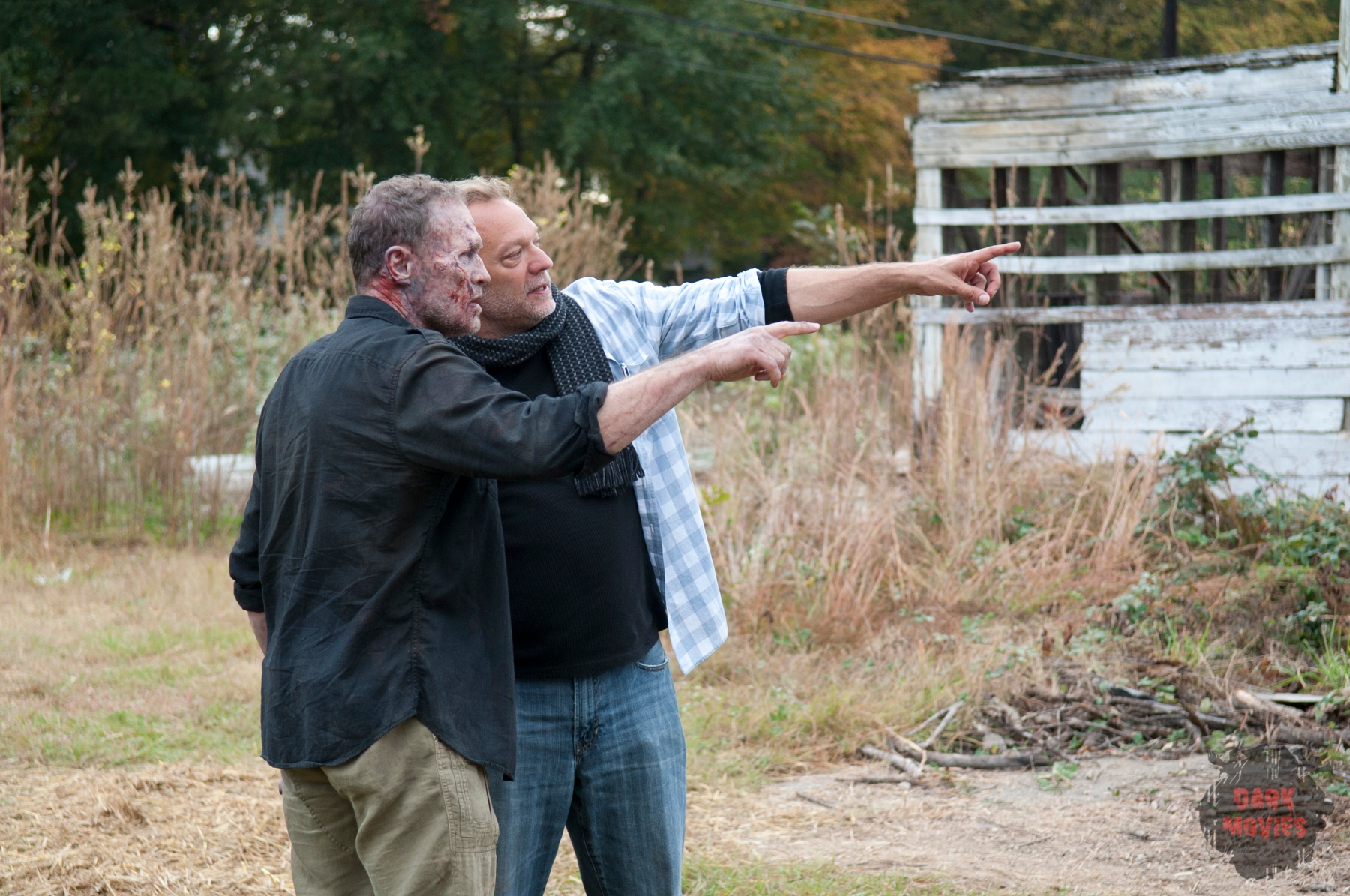 Merle Dixon (Michael Rooker) and Co-Executive Producer/SFX Make-Up Supervisor Greg Nicotero - The Walking Dead - Season 3, Episode 15 - Photo Credit: Gene Page/AMC