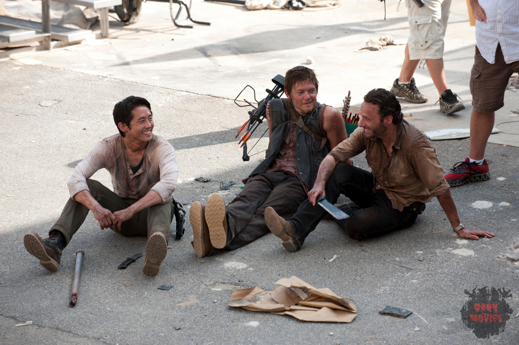 Glenn (Steven Yeun), Daryl Dixon (Norman Reedus) and Rick Grimes (Andrew Lincoln) - The Walking Dead - Season 3, Episode 1 - Photo Credit: Gene Page/AMC