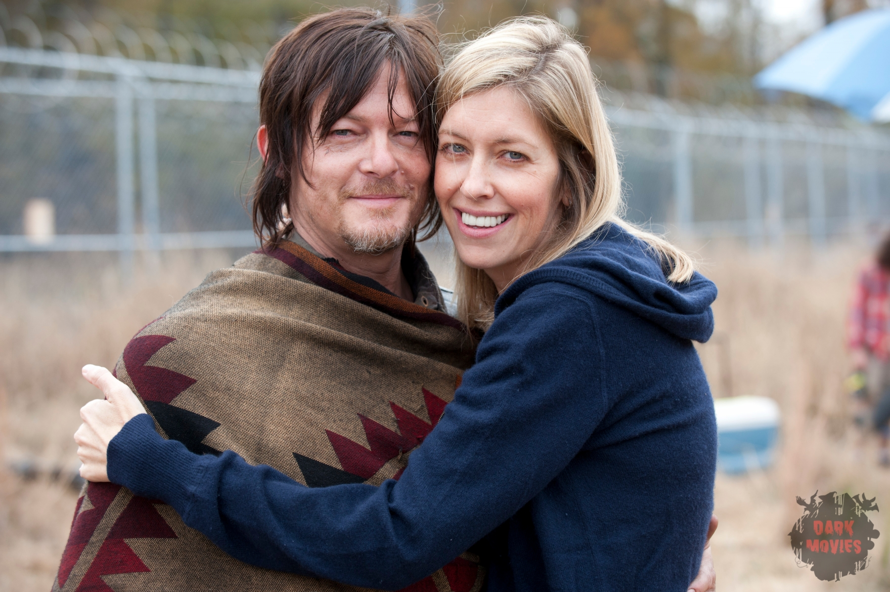 Norman Reedus and Denise Huth - The Walking Dead _ BTS - Season 4, Episode 16 - Photo Credit: Gene Page/AMC