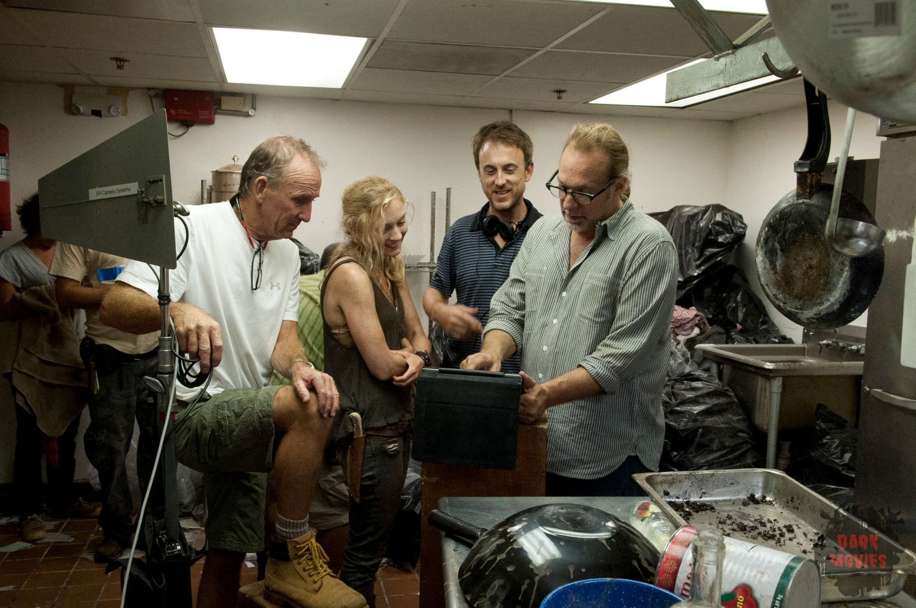 Emily Kinney and CoExecutive Producer/SFX Makeup Supervisor Greg Nicotero - The Walking Dead _ Season 4, Episode 12 _ BTS - Photo Credit: Gene Page/AMC