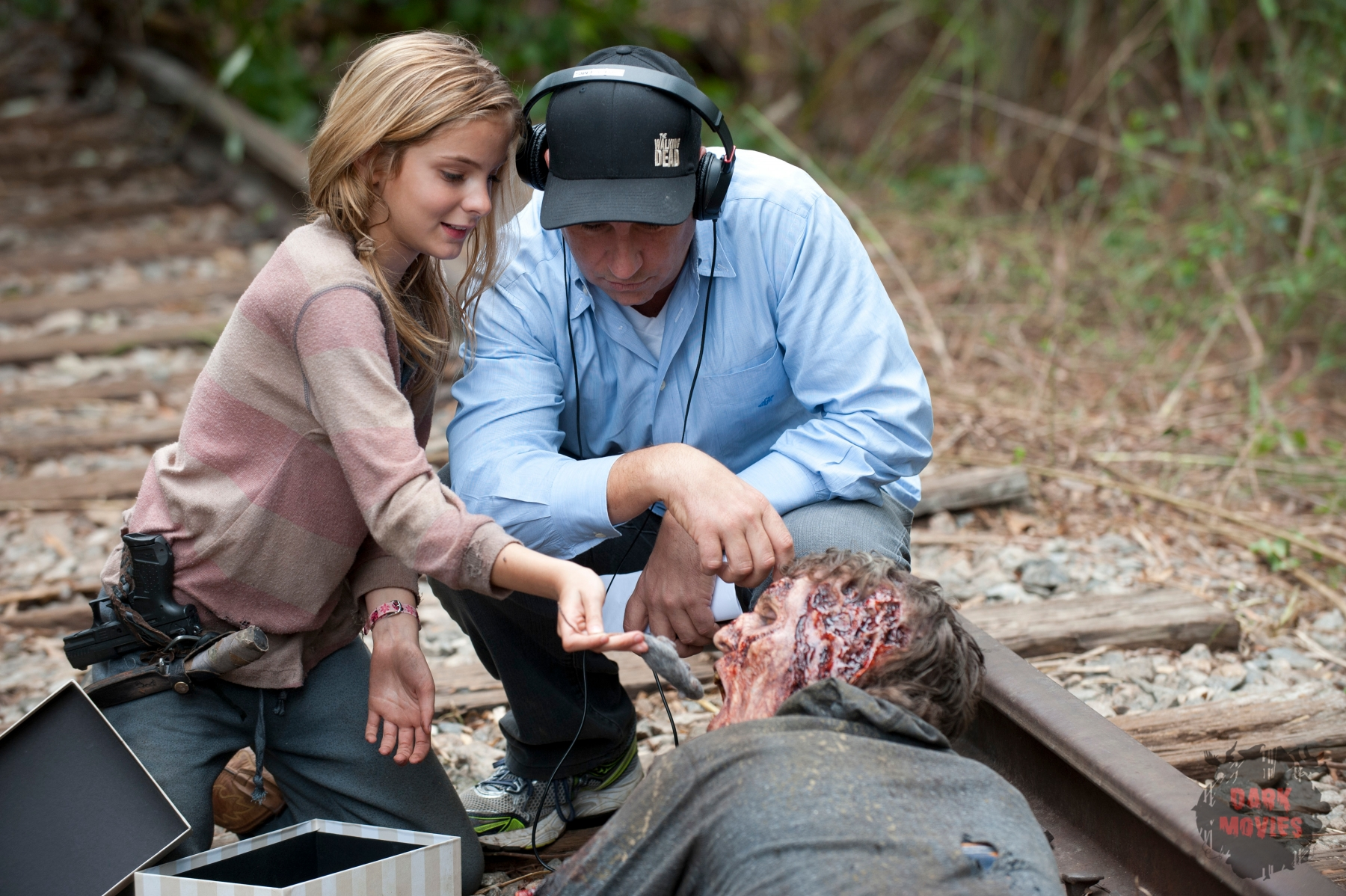 Brighton Sharbino and Walker - The Walking Dead _ Season 4, Episode 14 _ BTS - Photo Credit: Gene Page/AMC
