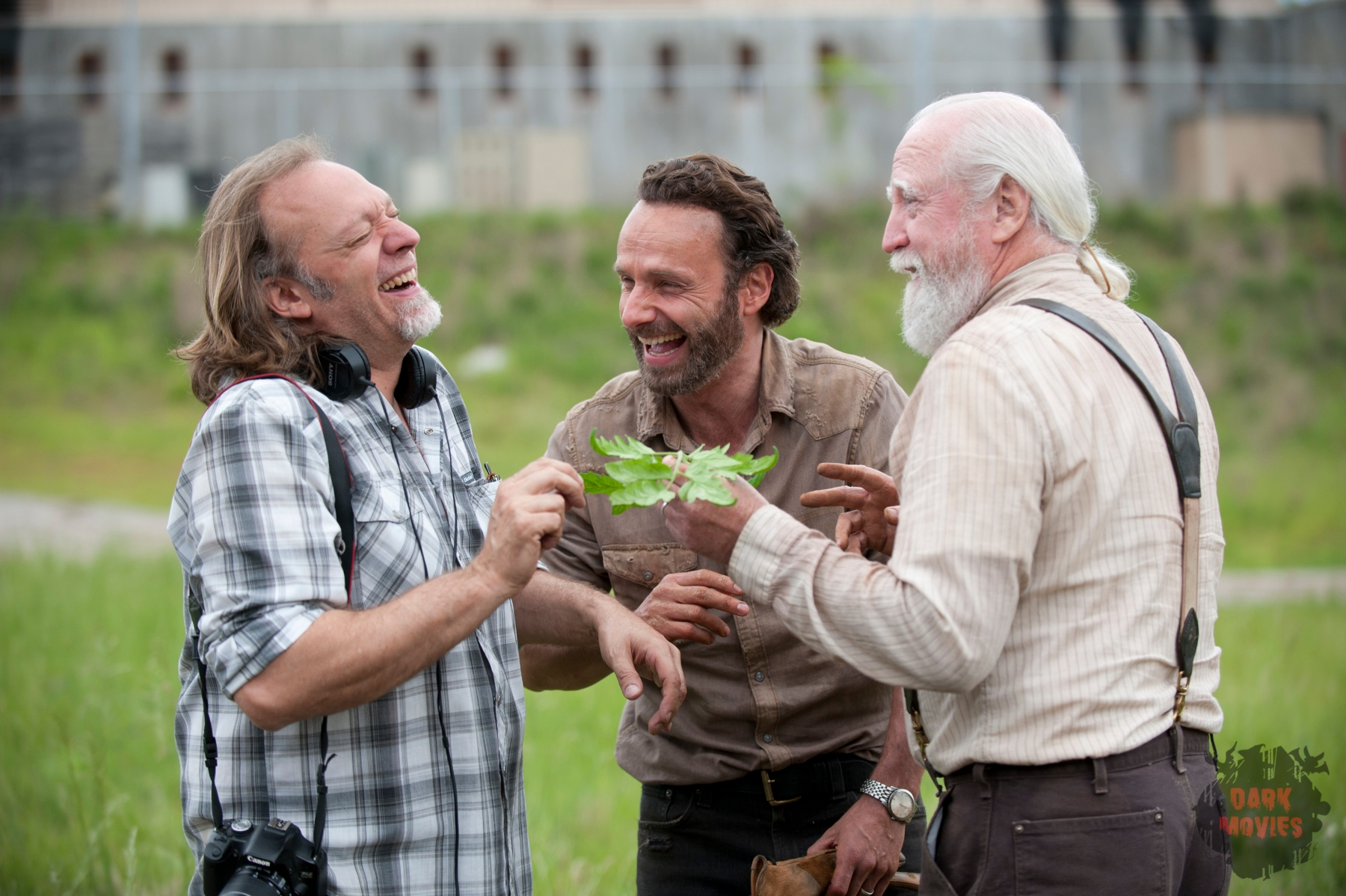 CoExecutive Producer/SFX Makeup Supervisor Greg Nicotero, Rick Grimes (Andrew Lincoln) and Hershel Greene (Scott Wilson) - The Walking Dead _ Season 4, Episode 1 _ BTS - Photo Credit: Gene Page/AMC
