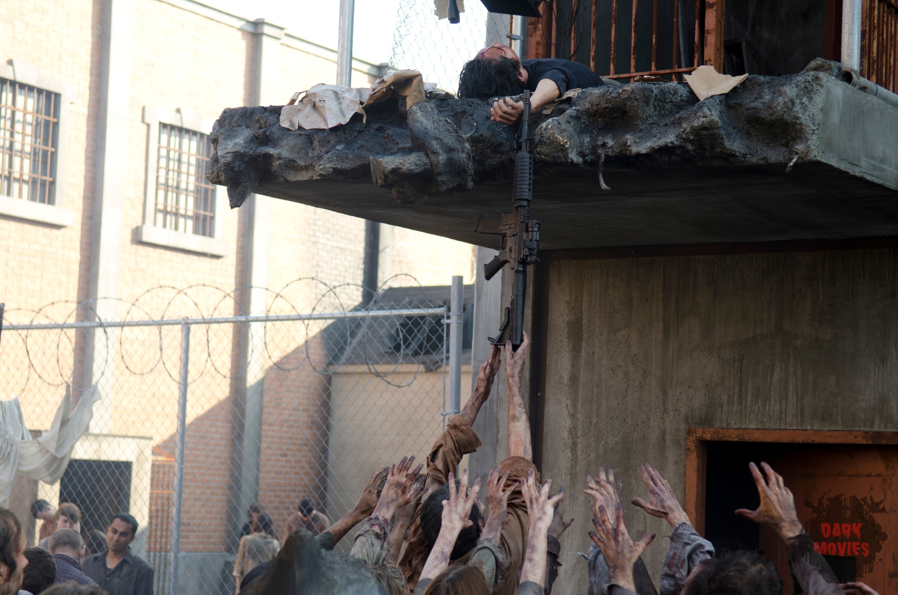 Glenn (Steven Yeun) and Walkers - The Walking Dead _ Season 4, Episode 10 - Photo Credit: Gene Page/AMC