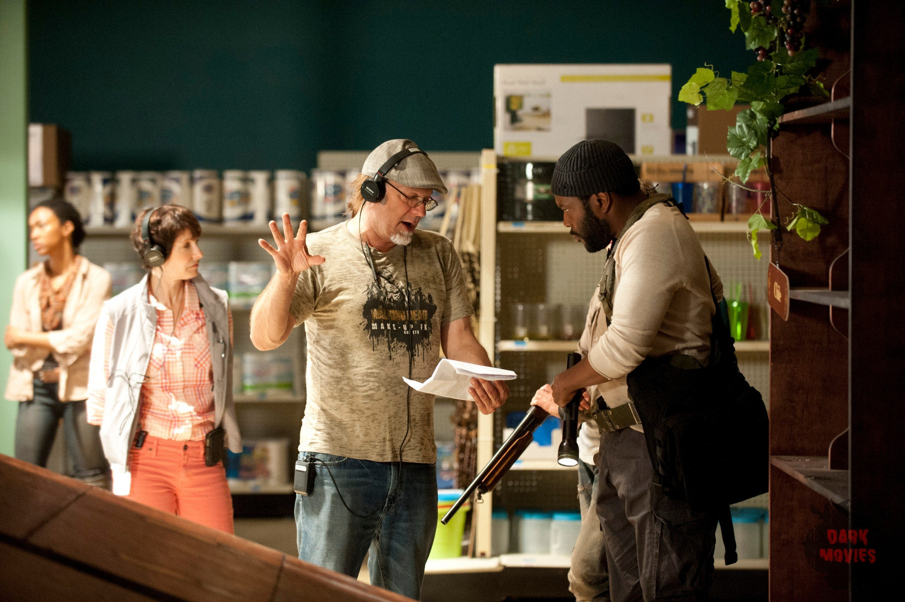Executive Producer Gale Anne Hurd, CoExecutive Producer/SFX Makeup Supervisor Greg Nicotero and Tyreese (Chad Coleman) - The Walking Dead _ Season 4, Episode 1 - Photo Credit: Gene Page/AMC