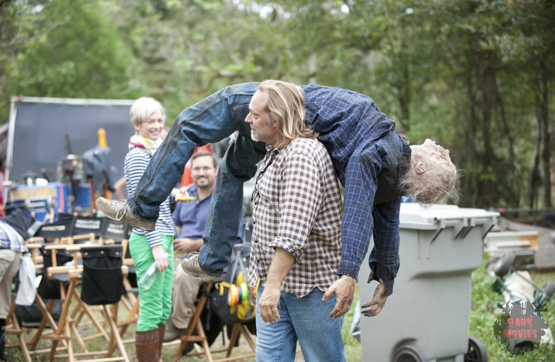 Greg Nicotero and Walker - The Walking Dead _ Season 4, Episode 14 _ BTS - Photo Credit: Gene Page/AMC