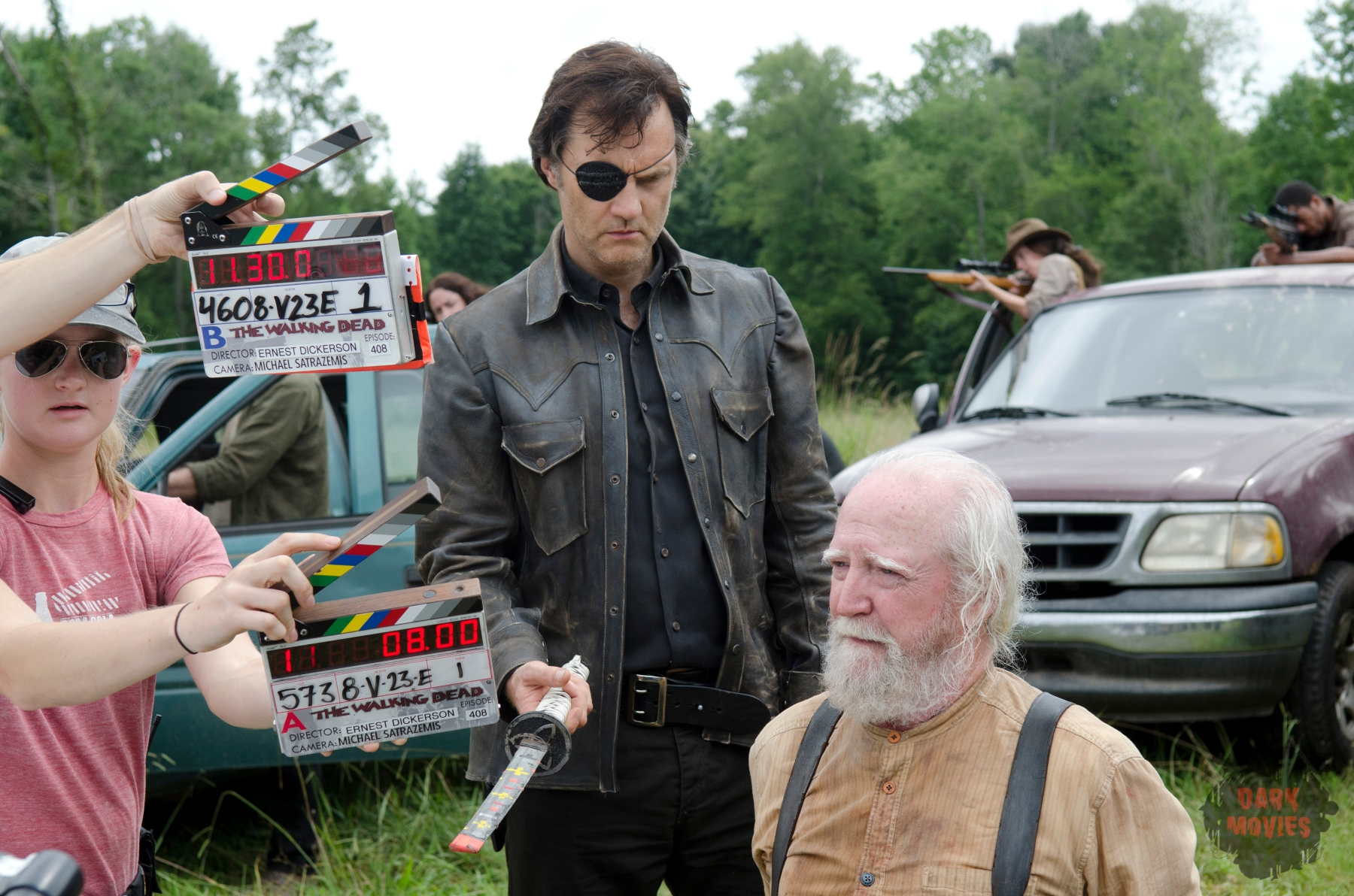The Governor (David Morrissey) and Hershel Greene (Scott Wilson) - The Walking Dead _ Season 4, Episode 8 _ BTS - Photo Credit: Gene Page/AMC