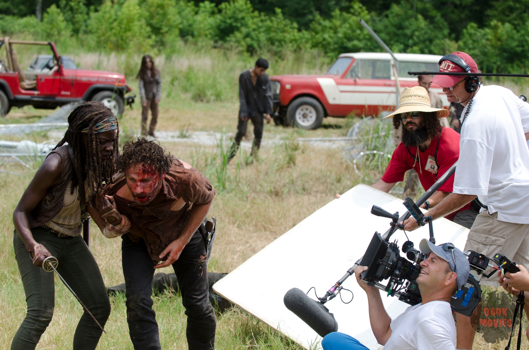 Michonne (Danai Gurira) and Rick Grimes (Andrew Lincoln) - The Walking Dead _ Season 4, Episode 8 _ BTS - Photo Credit: Gene Page/AMC