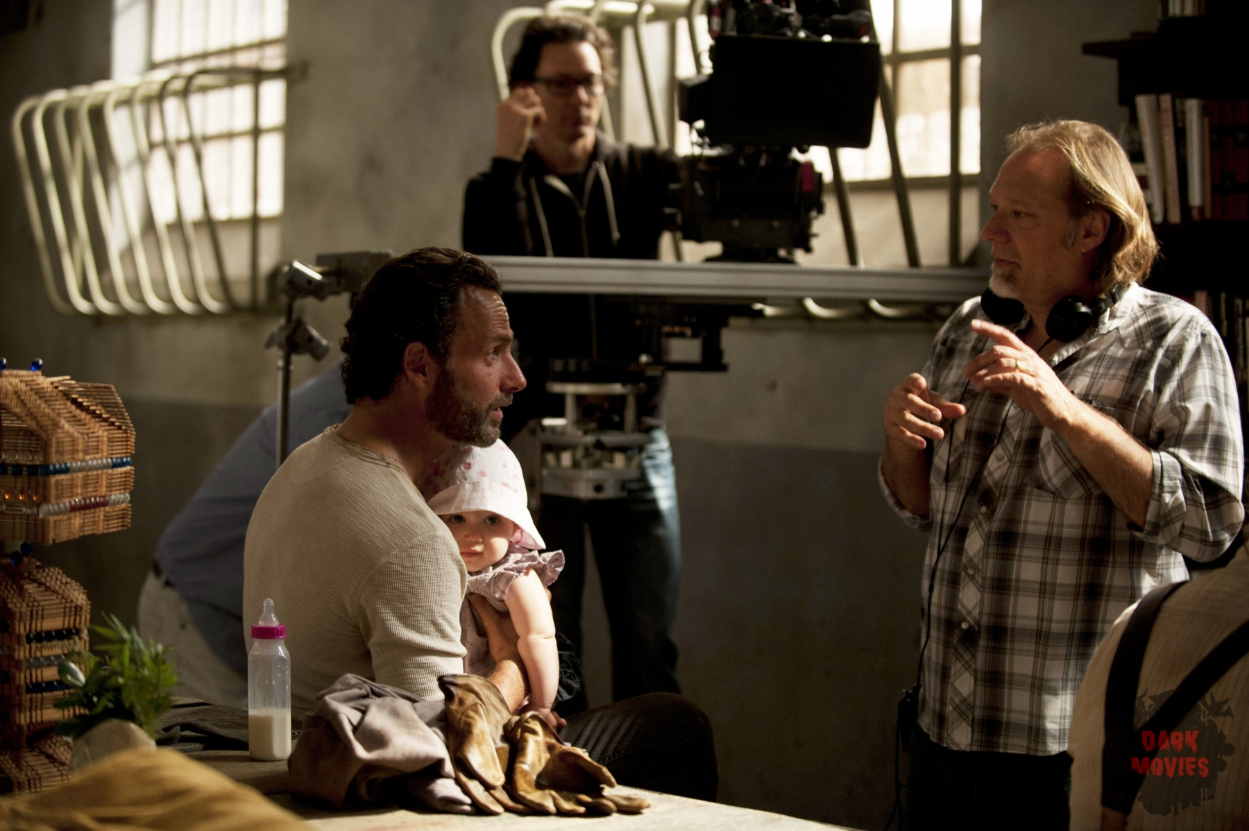 Rick Grimes (Andrew Lincoln) and CoExecutive Producer/SFX Makeup Supervisor Greg Nicotero - The Walking Dead _ Season 4, Episode 1 _ BTS - Photo Credit: Gene Page/AMC