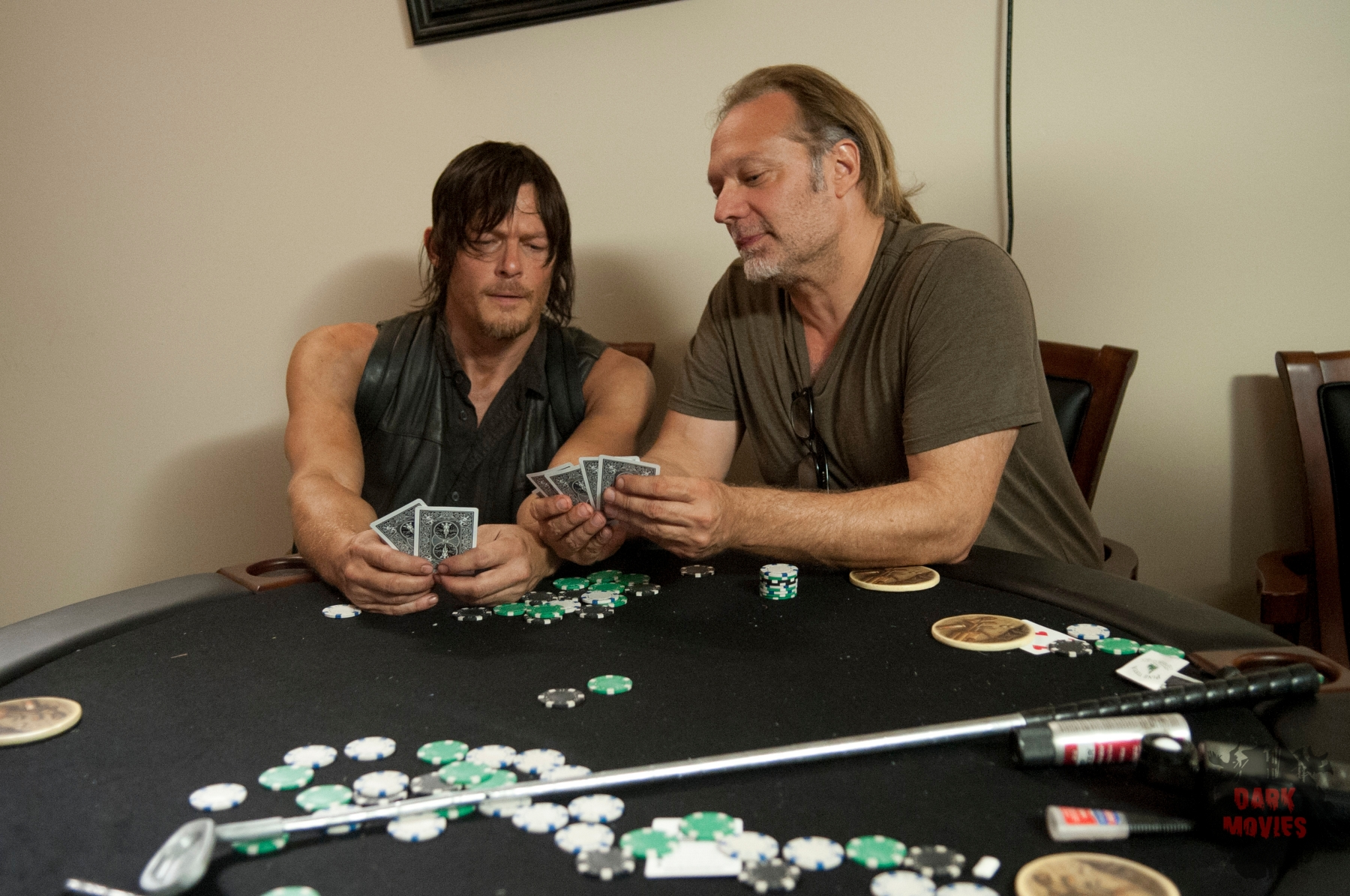 Norman Reedus and CoExecutive Producer/SFX Makeup Supervisor Greg Nicotero - The Walking Dead _ Season 4, Episode 11 _ BTS - Photo Credit: Gene Page/AMC
