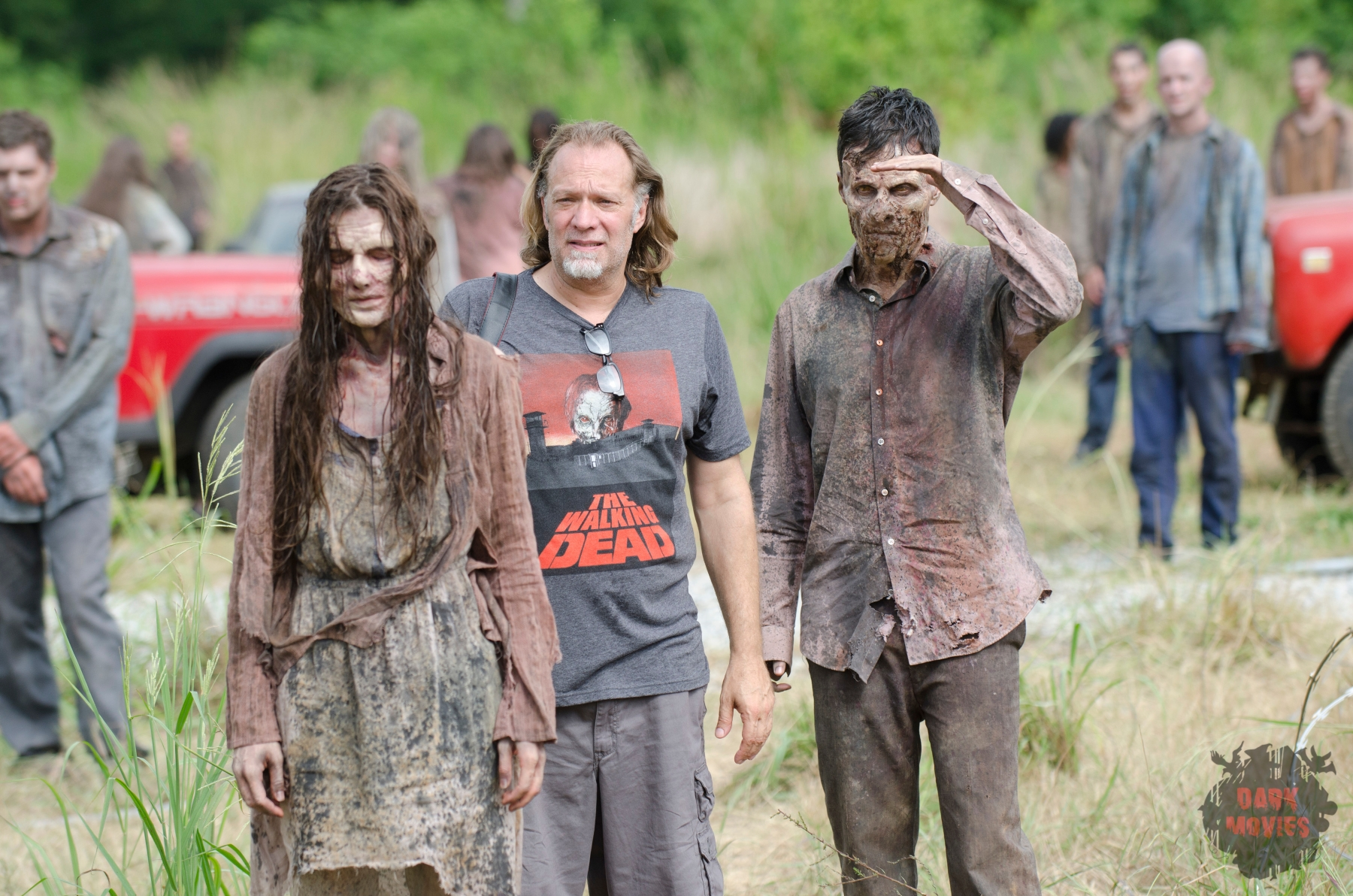 CoExecutive Producer/SFX Makeup Supervisor Greg Nicotero and Walker - The Walking Dead _ Season 4, Episode 8 _ BTS - Photo Credit: Gene Page/AMC