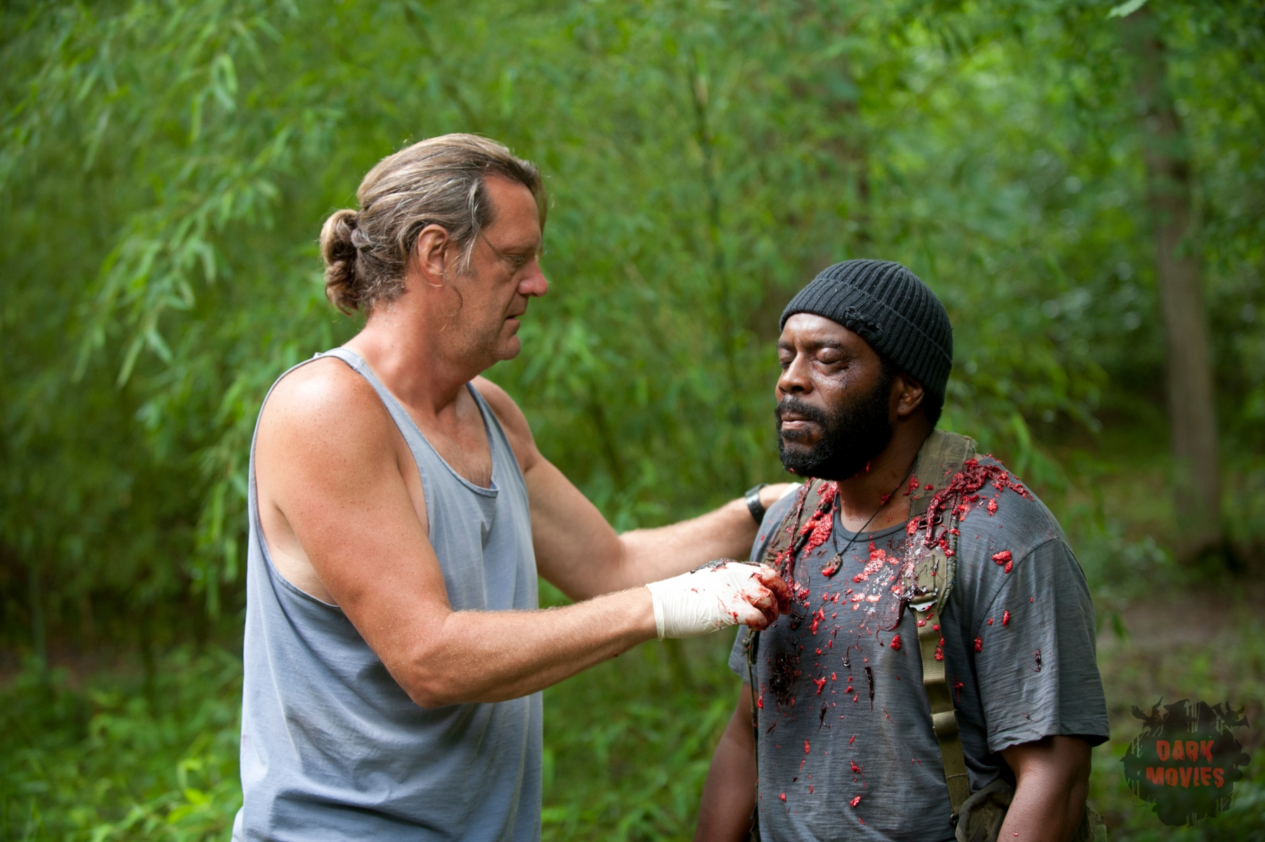 Jake Garber and Tyreese (Chad Coleman) - The Walking Dead _ Season 4, Episode 3 - Photo Credit: Gene Page/AMC