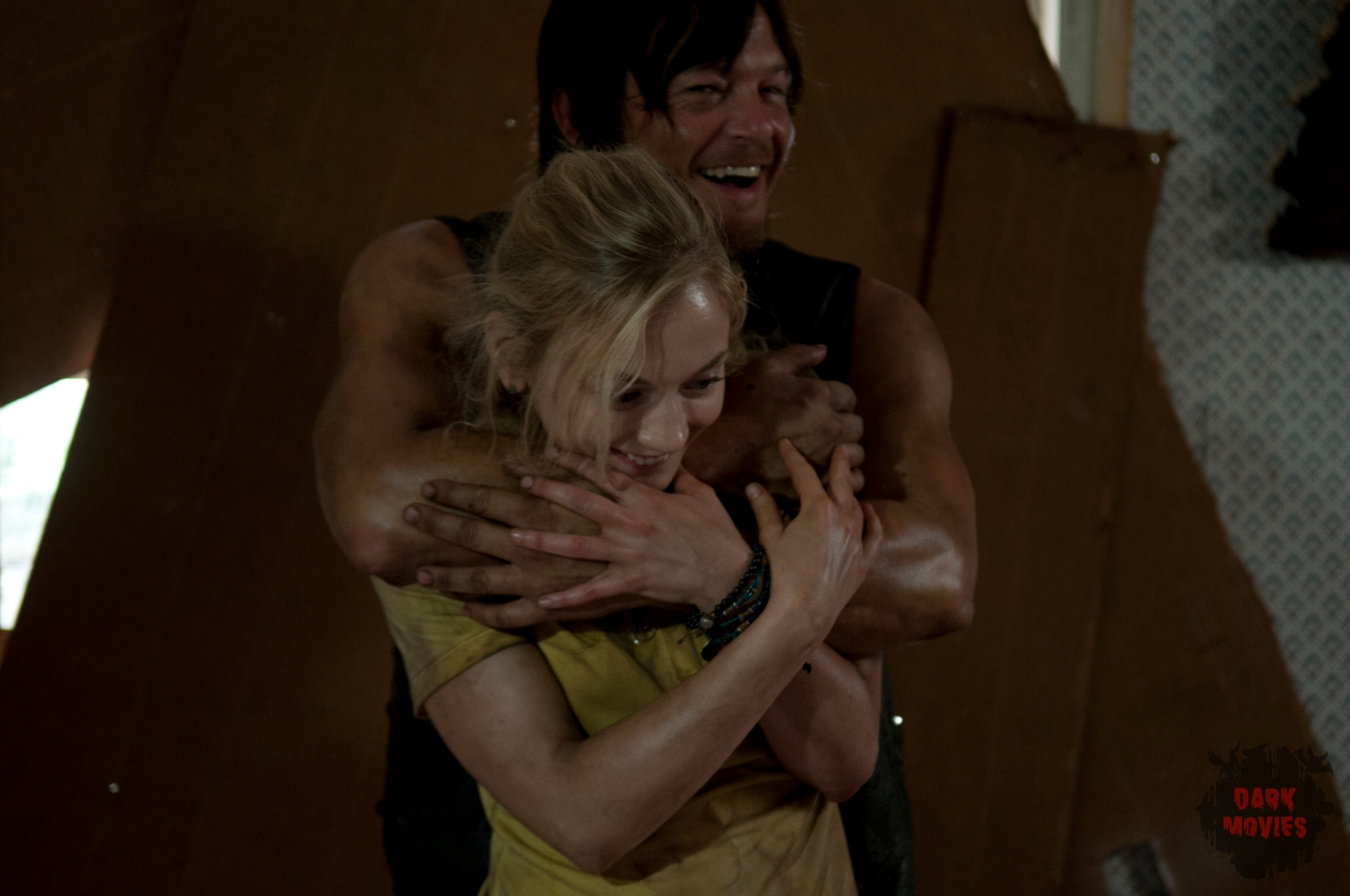 Emily Kinney and Norman Reedus - The Walking Dead _ Season 4, Episode 12 _ BTS - Photo Credit: Gene Page/AMC