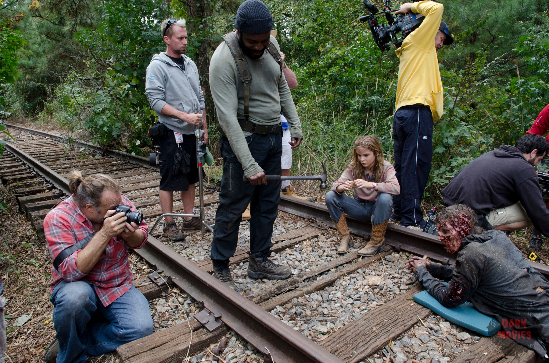 CoExecutive Producer/SFX Makeup Supervisor Greg Nicotero, Chad Coleman and Brighton Sharbino - The Walking Dead _ Season 4, Episode 14 _ BTS - Photo Credit: Gene Page/AMC