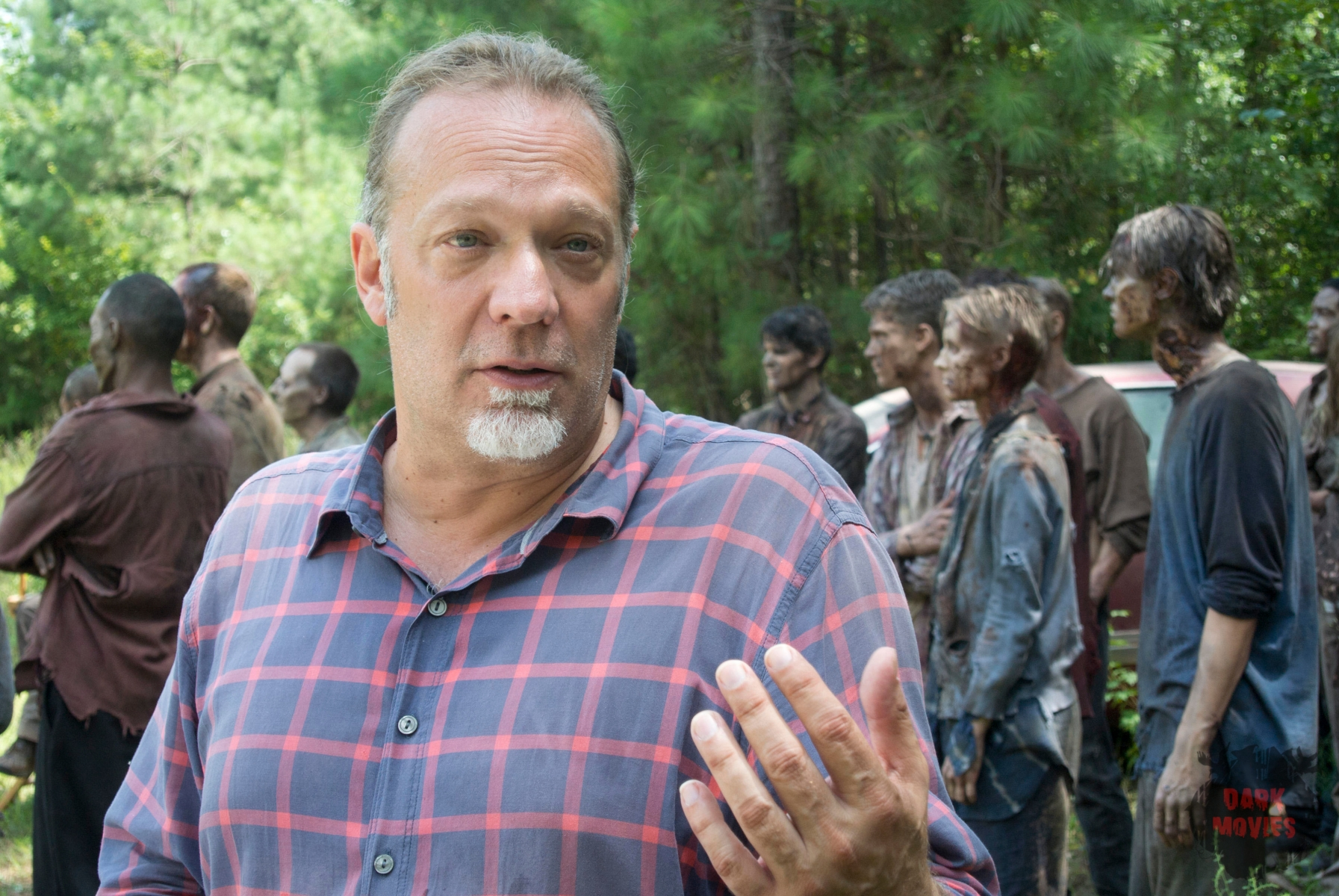 CoExecutive Producer/SFX Makeup Supervisor Greg Nicotero and Walkers - The Walking Dead _ Season 4, Episode 9 - Photo Credit: Gene Page/AMC
