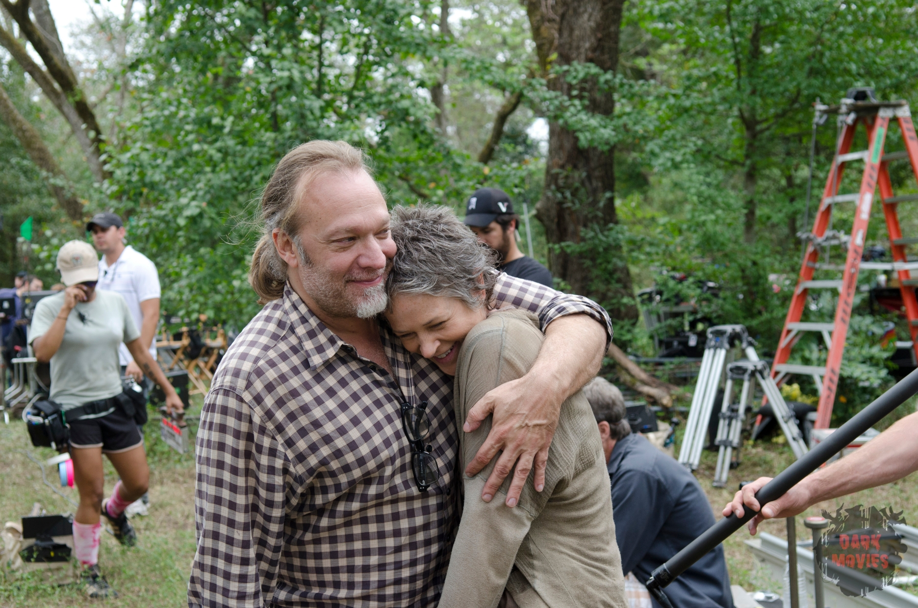 Greg Nicotero and Melissa Suzanne McBride - The Walking Dead _ Season 4, Episode 14 _ BTS - Photo Credit: Gene Page/AMC