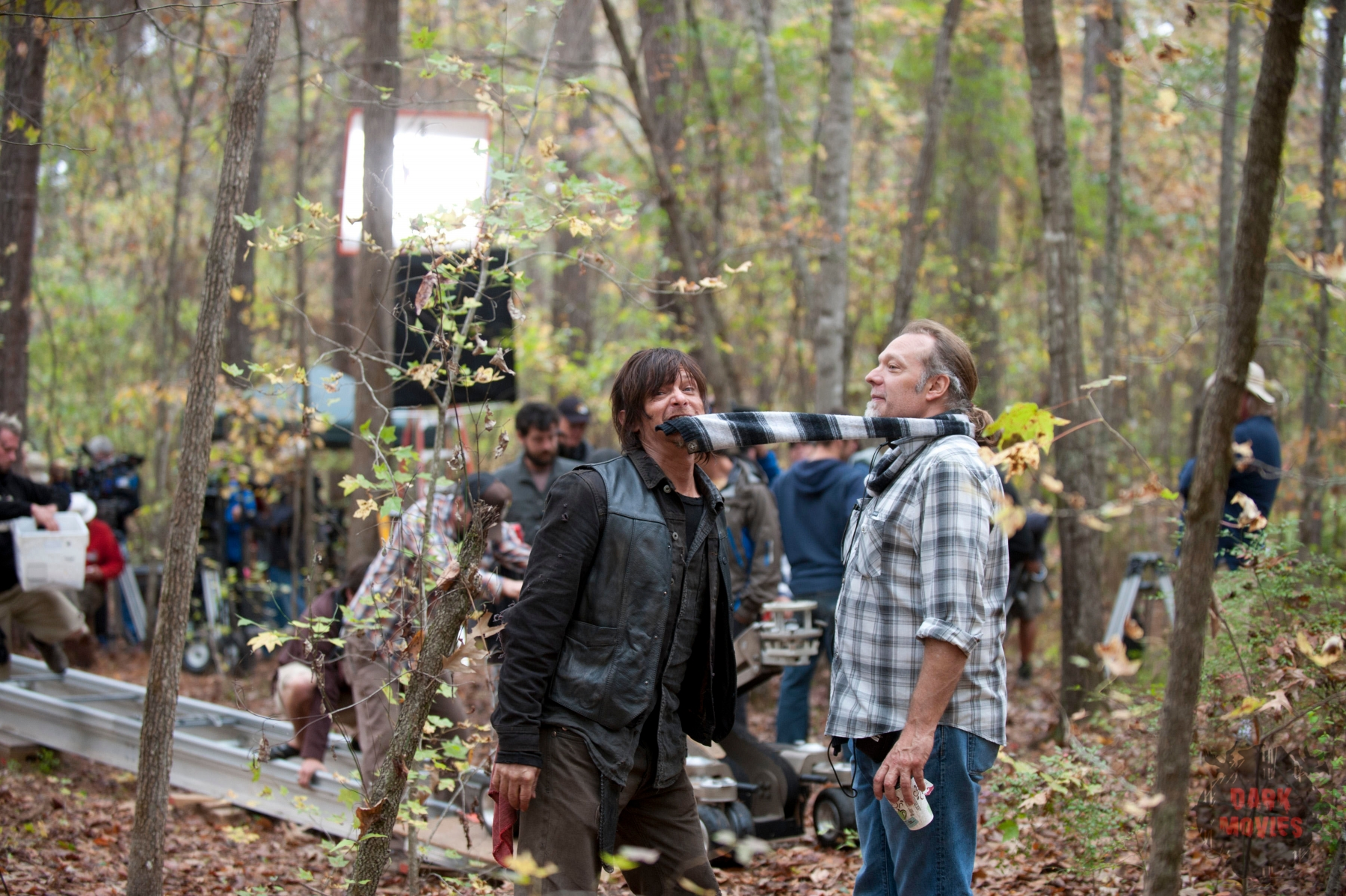 Norman Reedus and Greg Nicotero - The Walking Dead _ Season 4, Episode 15 _ BTS - Photo Credit: Gene Page/AMC