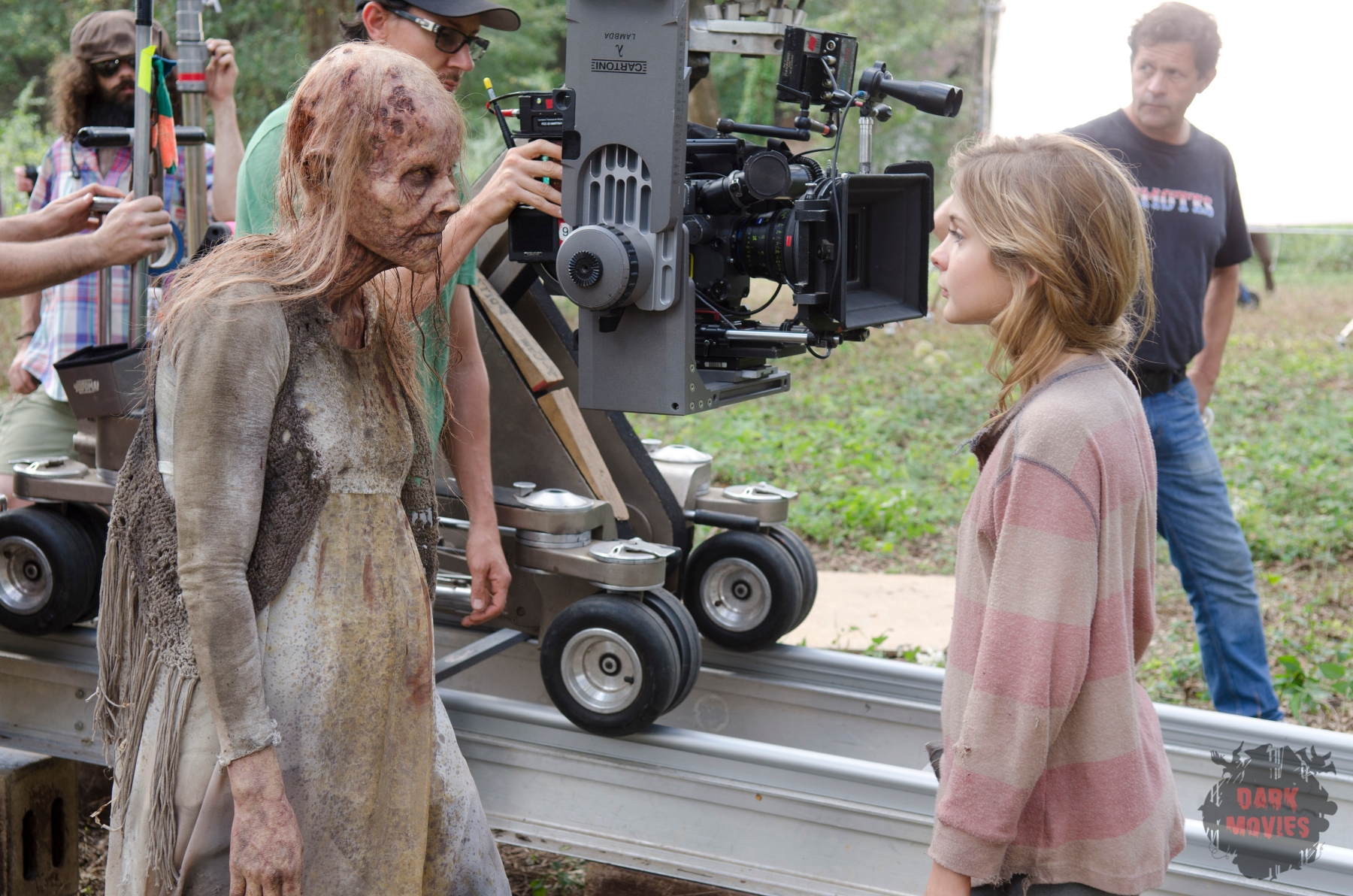 Walker and Brighton Sharbino - The Walking Dead _ Season 4, Episode 14 _ BTS - Photo Credit: Gene Page/AMC