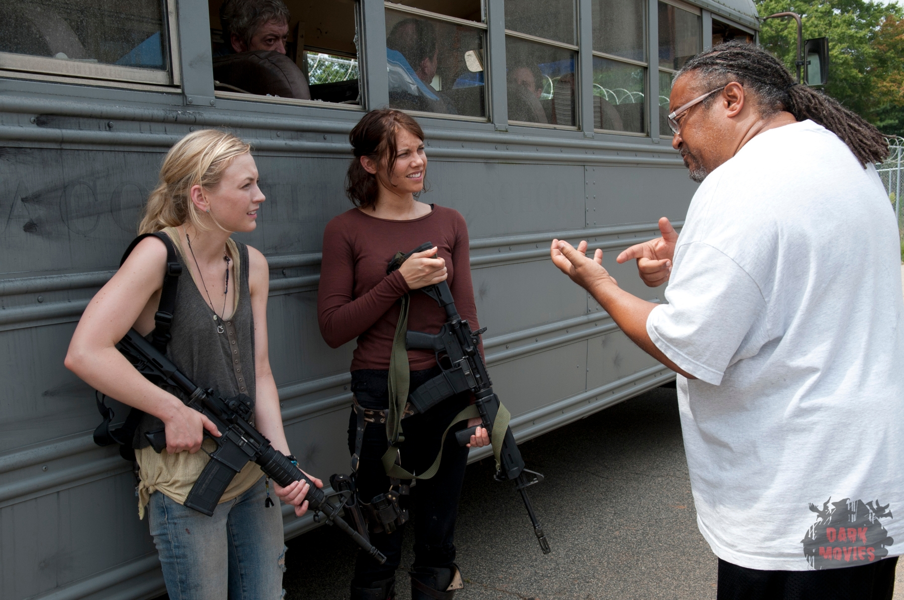 Beth Greene (Emily Kinney), Maggie Greene (Lauren Cohan) and Ernest Dickerson - The Walking Dead _ Season 4, Episode 8 _ BTS - Photo Credit: Gene Page/AMC