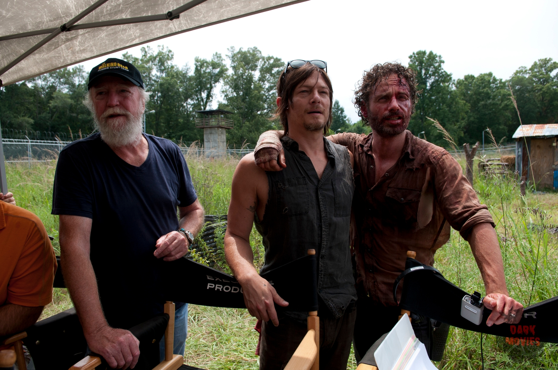 Hershel Greene (Scott Wilson), Daryl Dixon (Norman Reedus) and Rick Grimes (Andrew Lincoln) - The Walking Dead _ Season 4, Episode 8 _ BTS - Photo Credit: Gene Page/AMC
