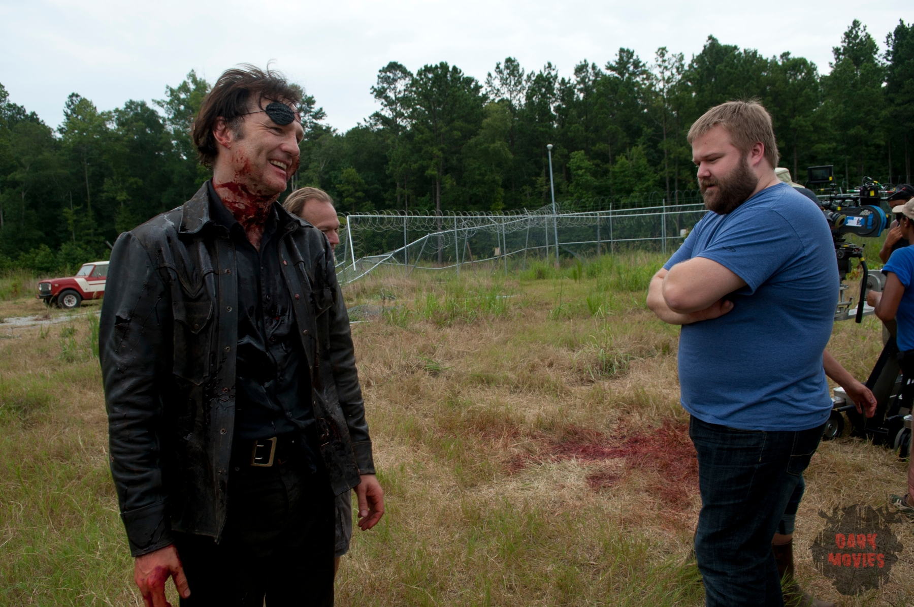 The Governor (David Morrissey) and Robert Kirkman - The Walking Dead _ Season 4, Episode 8 _ BTS - Photo Credit: Gene Page/AMC