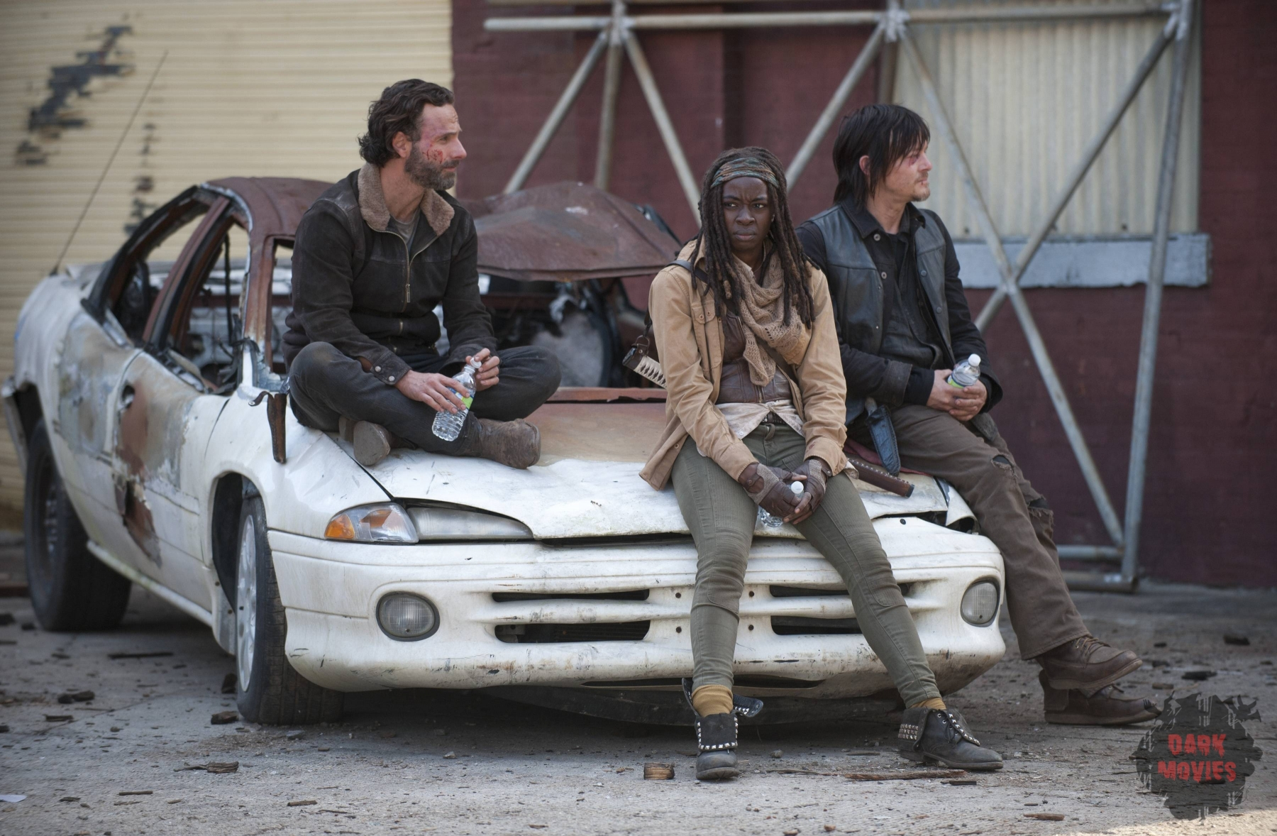 Andrew Lincoln, Danai Gurira and Norman Reedus - The Walking Dead _ BTS - Season 4, Episode 16 - Photo Credit: Gene Page/AMC