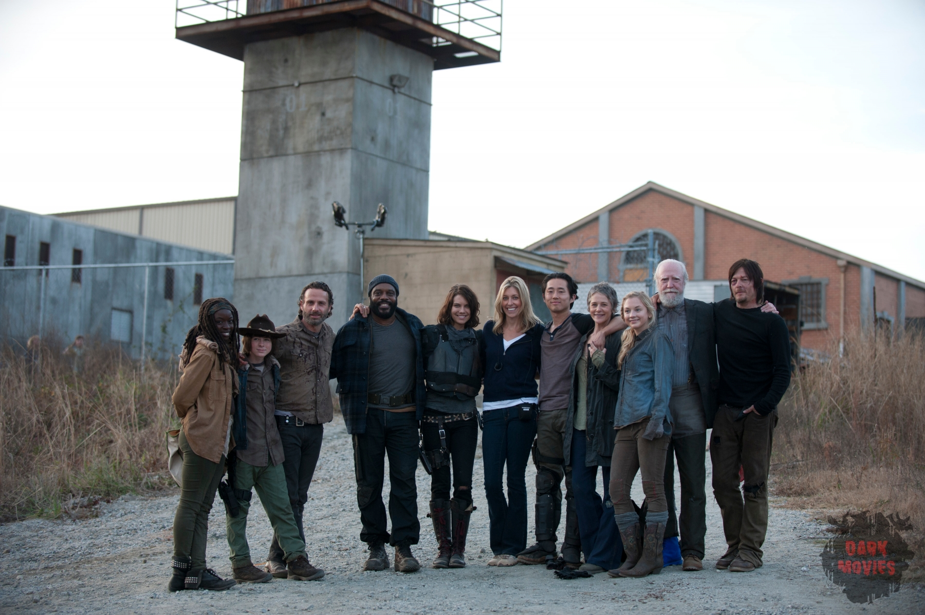 Danai Gurira, Chandler Riggs, Andrew Lincoln, Chad Coleman, Lauren Cohan, Denise Huth, Steven Yeun, Melissa Suzanne McBride, Emily Kinney, Scott Wilson and Norman Reedus - The Walking Dead _ BTS - Season 4, Episode 16 - Photo Credit: Gene Page/AMC