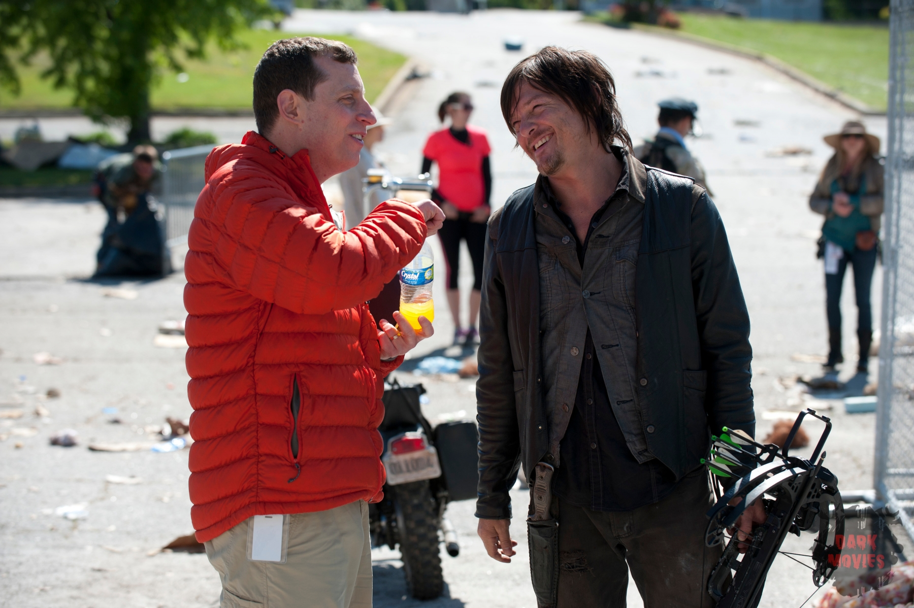 Scott Gimple (Showrunner) and Daryl Dixon (Norman Reedus) - The Walking Dead _ Season 4, Episode 1 _ BTS - Photo Credit: Gene Page/AMC