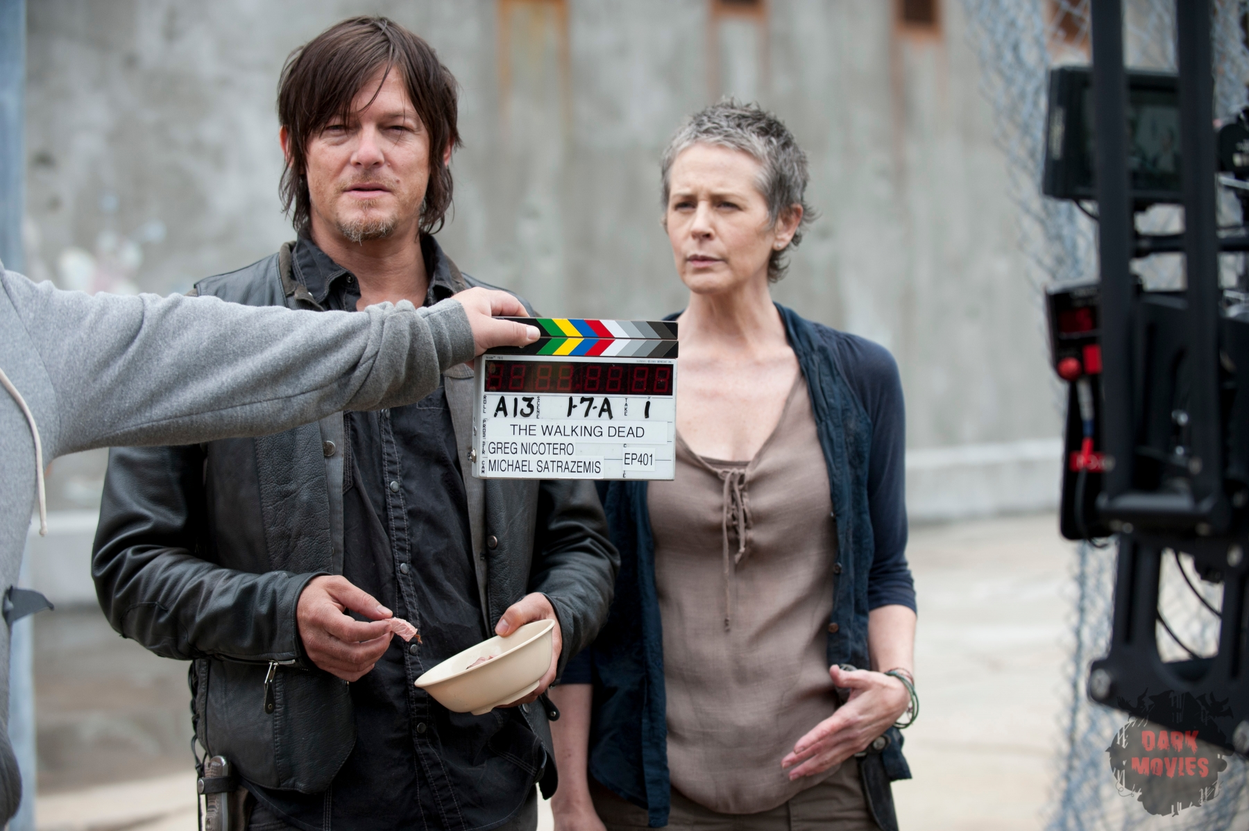 Daryl Dixon (Norman Reedus) and Carol (Melissa Suzanne McBride) - The Walking Dead _ Season 4, Episode 1 _ BTS - Photo Credit: Gene Page/AMC