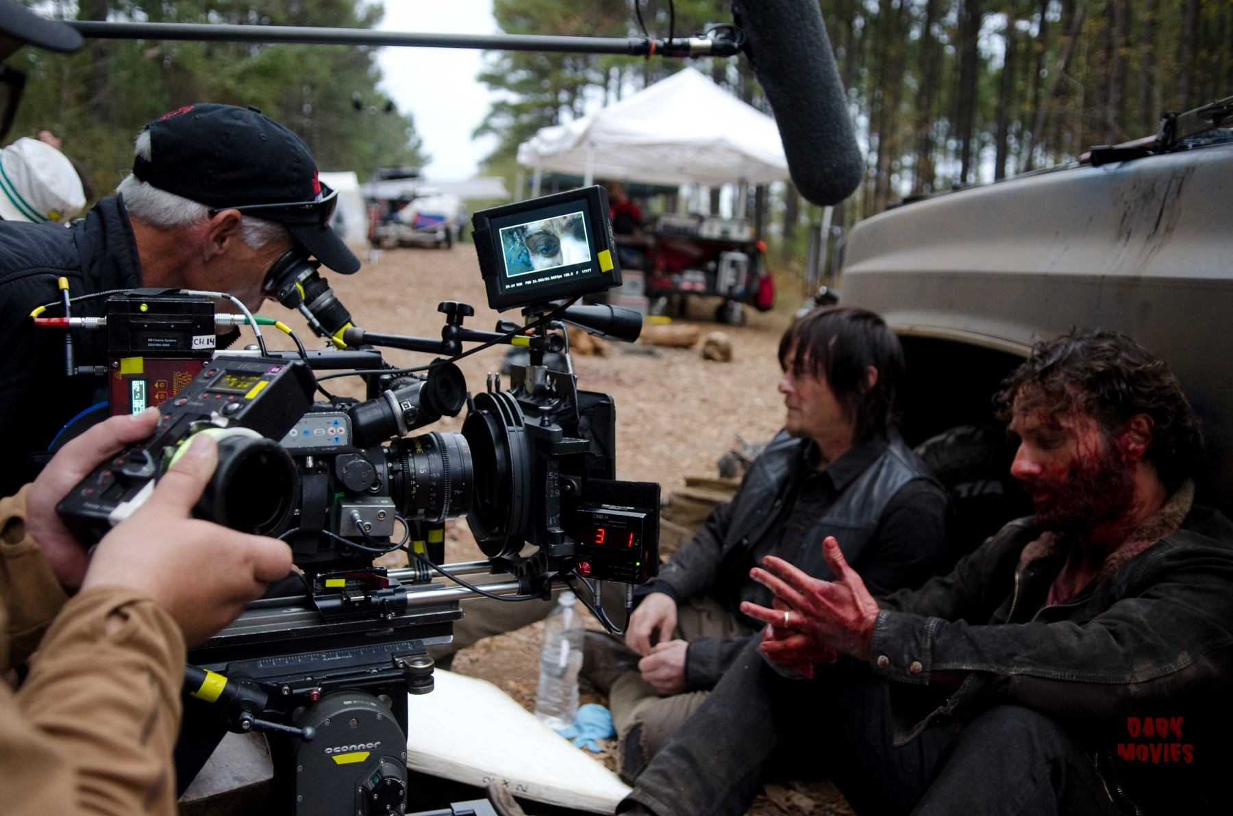 Norman Reedus and Andrew Lincoln - The Walking Dead _ BTS - Season 4, Episode 16 - Photo Credit: Gene Page/AMC
