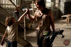 Luke (Luke Donaldson) and Daryl Dixon (Norman Reedus) - The Walking Dead _ Season 4, Episode 2 _ BTS - Photo Credit: Gene Page/AMC