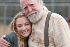 Emily Kinney and Scott Wilson - The Walking Dead _ BTS - Season 4, Episode 16 - Photo Credit: Gene Page/AMC