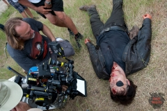 CoExecutive Producer/SFX Makeup Supervisor Greg Nicotero and The Governor (David Morrissey) - The Walking Dead _ Season 4, Episode 8 _ BTS - Photo Credit: Gene Page/AMC