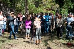 Kyla Kenedy and Brighton Sharbino - The Walking Dead _ Season 4, Episode 14 _ BTS - Photo Credit: Gene Page/AMC