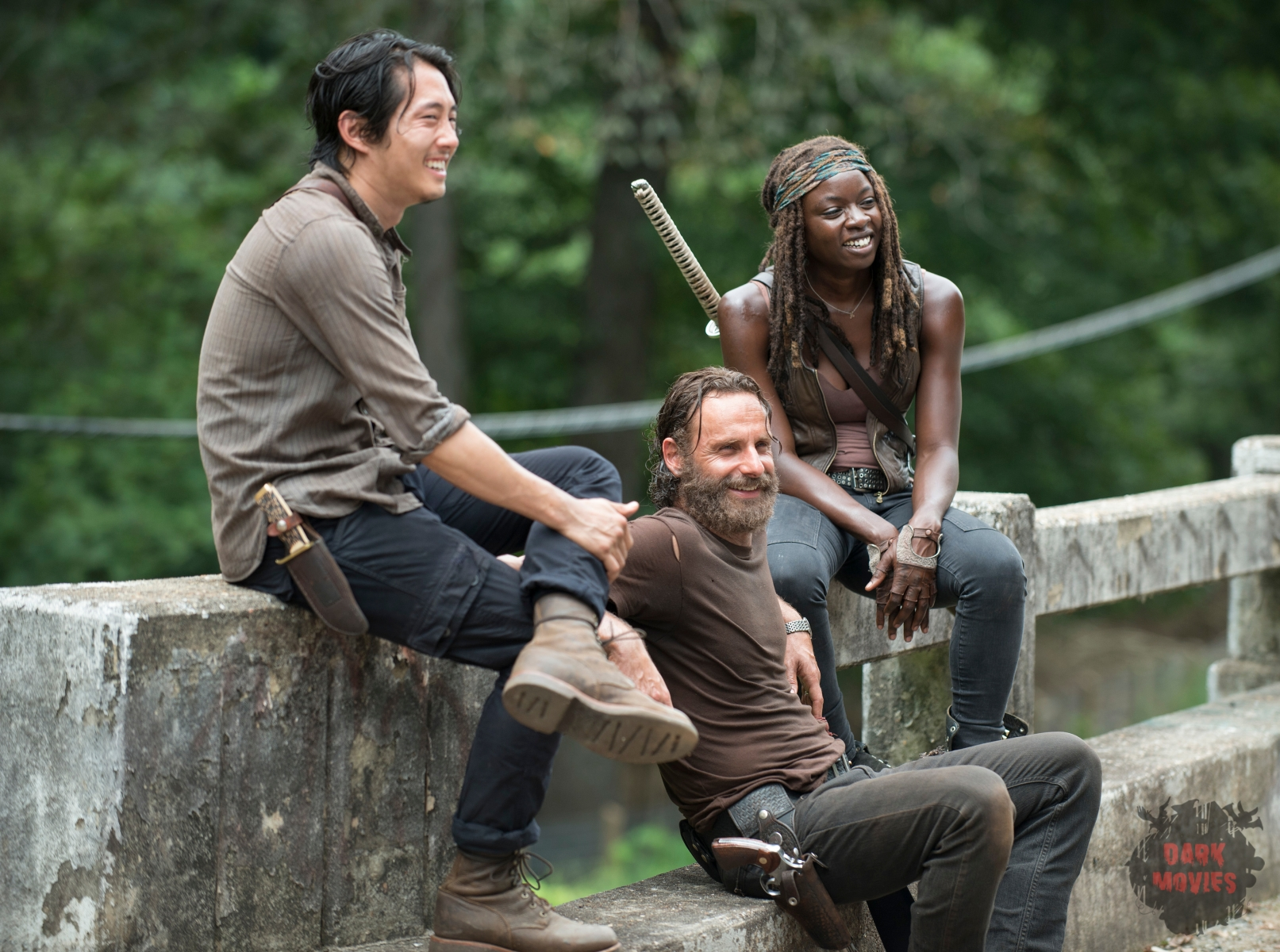 Steven Yeun, Andrew Lincoln and Danai Gurira - The Walking Dead _ Season 5, Episode 10 _ BTS - Photo Credit: Gene Page/AMC