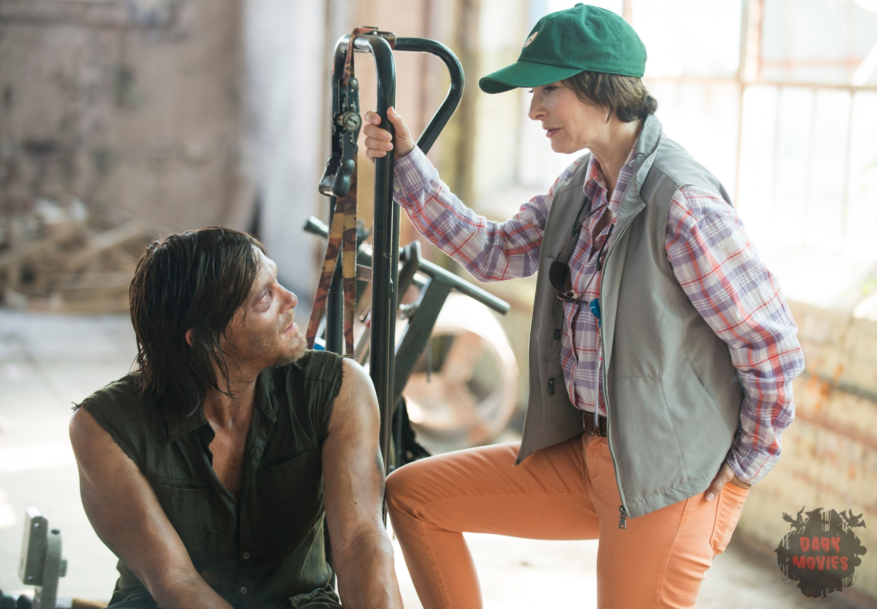 Norman Reedus and Gale Ann Hurd - The Walking Dead _ Season 5, Episode 8 _ BTS - Photo Credit: Gene Page/AMC