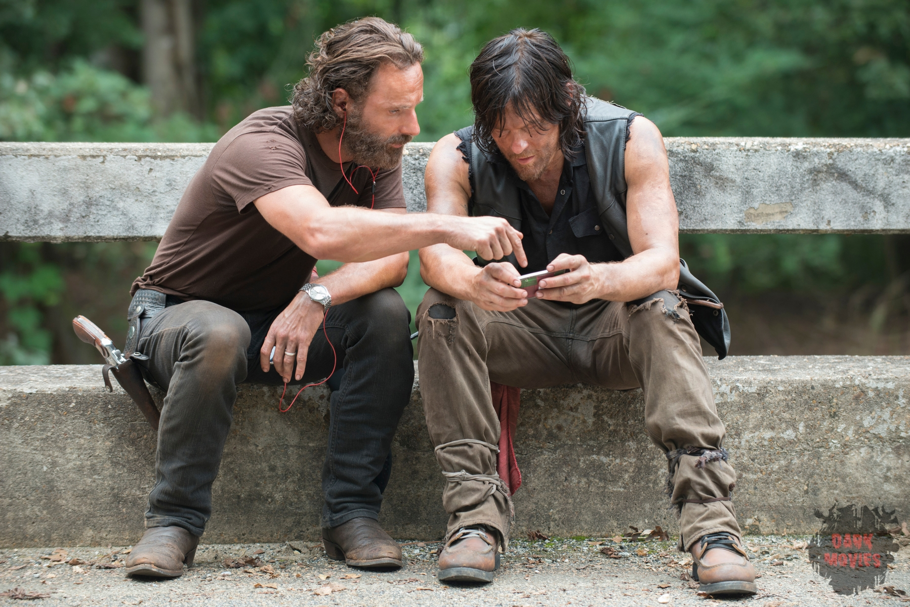 Andrew Lincoln and Norman Reedus - The Walking Dead _ Season 5, Episode 10 _ BTS - Photo Credit: Gene Page/AMC