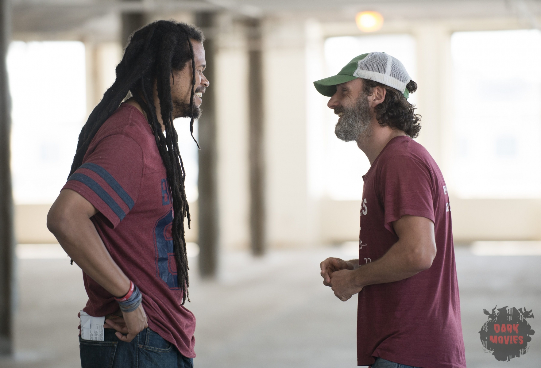 Director Seith Mann and Andrew Lincoln as Rick Grimes- The Walking Dead _ Season 5, Episode 6 _ BTS - Photo Credit: Gene Page/AMC