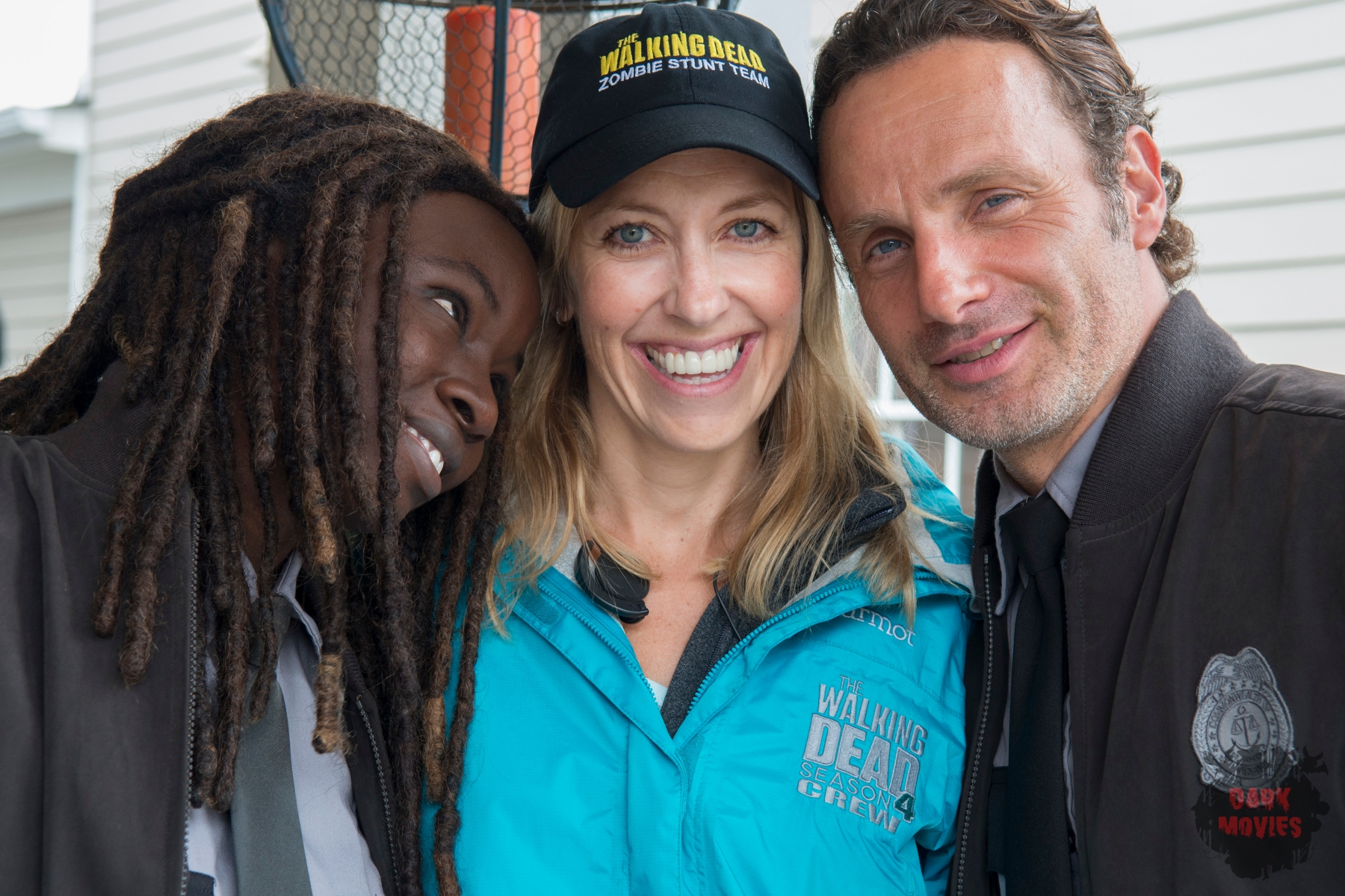 Danai Gurira, Denise Huth and Andrew Lincoln - The Walking Dead _ Season 5, Episode 13 _ BTS - Photo Credit: Gene Page/AMC