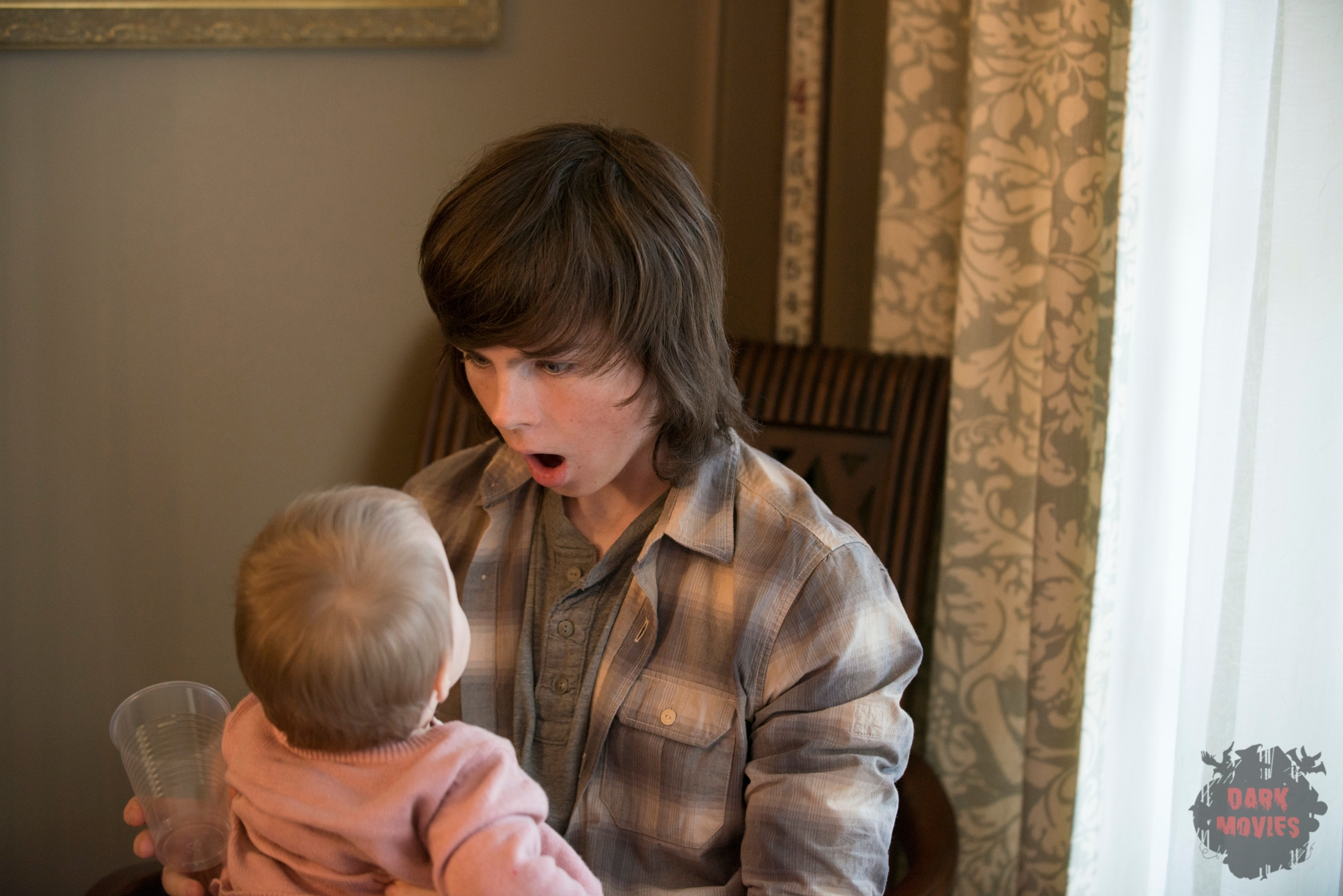 Chandler Riggs - The Walking Dead _ Season 5, Episode 13 _ BTS - Photo Credit: Gene Page/AMC