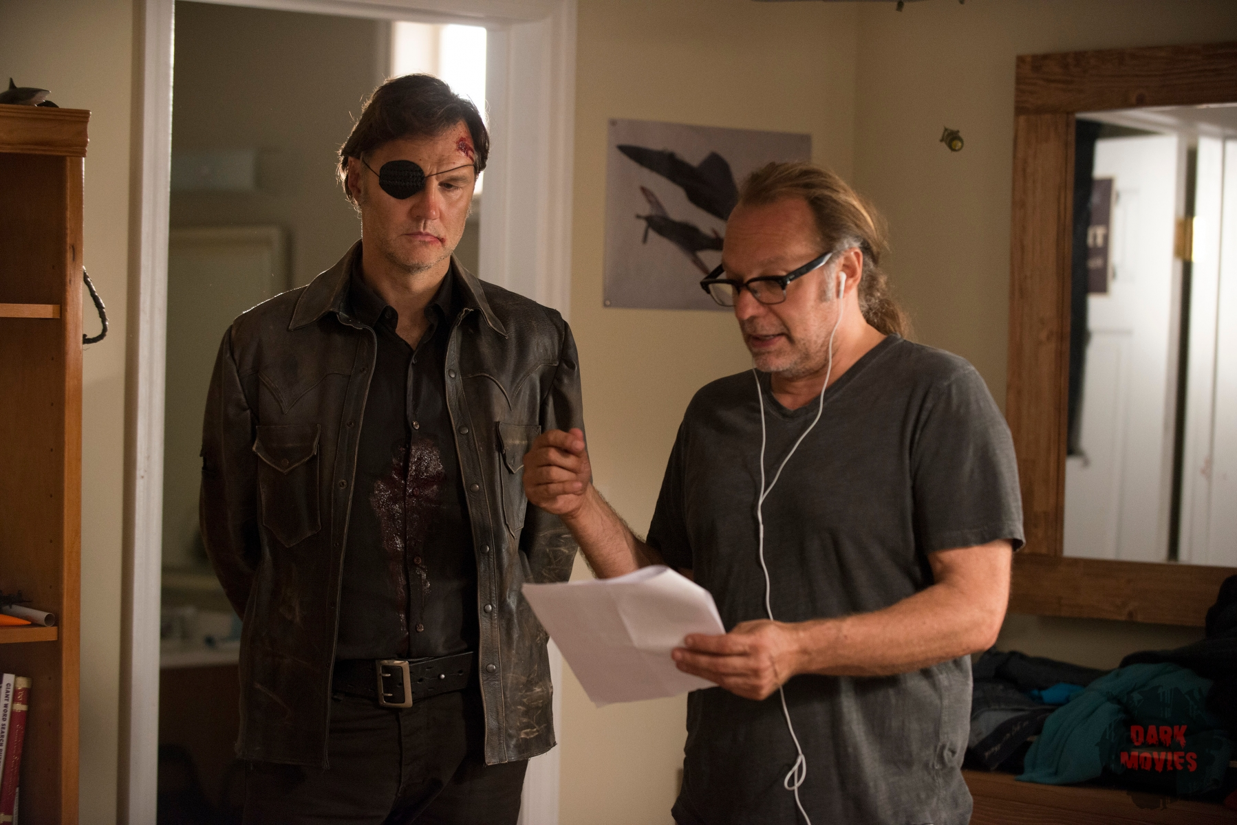 David Morrissey and Greg Nicotero - The Walking Dead _ Season 5, Episode 9 _ BTS - Photo Credit: Gene Page/AMC