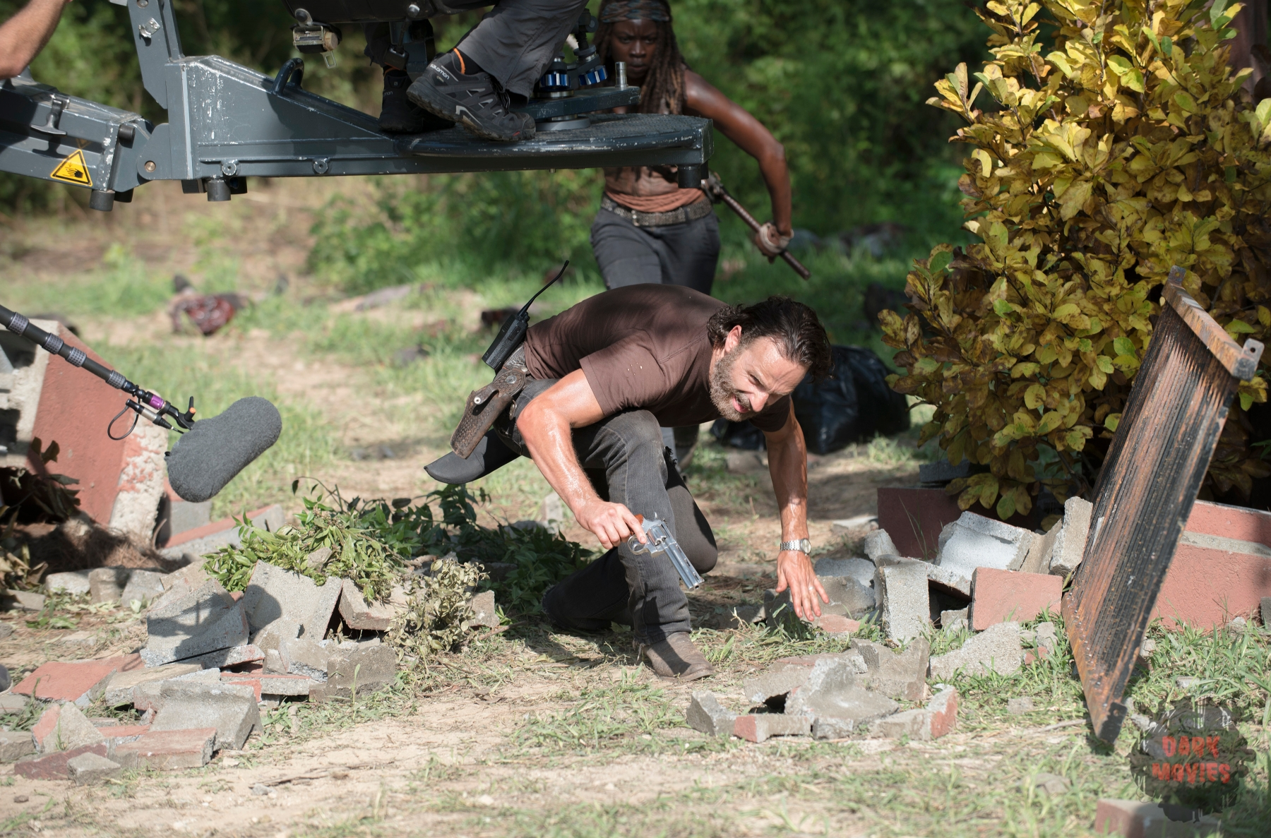 Andrew Lincoln and Danai Gurira - The Walking Dead _ Season 5, Episode 9 _ BTS - Photo Credit: Gene Page/AMC