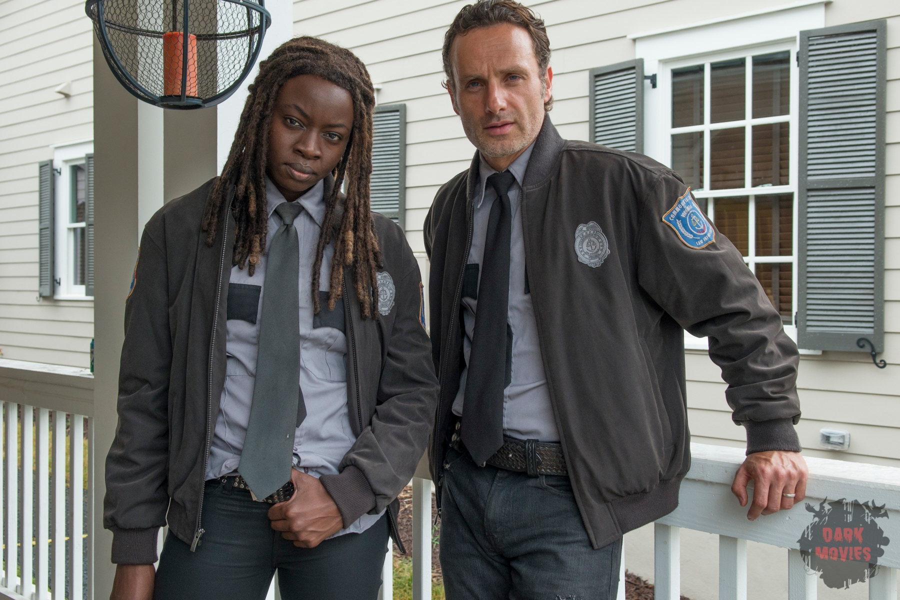 Danai Gurira and Andrew Lincoln - The Walking Dead _ Season 5, Episode 13 _ BTS - Photo Credit: Gene Page/AMC