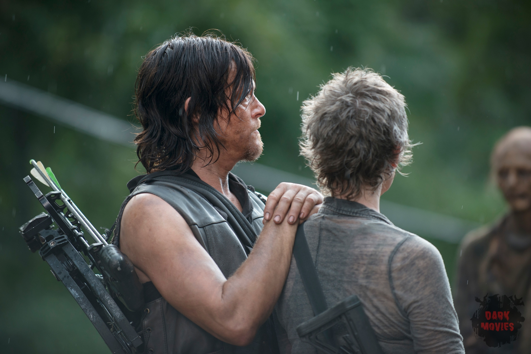 Norman Reedus and Melissa McBride - The Walking Dead _ Season 5, Episode 10 _ BTS - Photo Credit: Gene Page/AMC