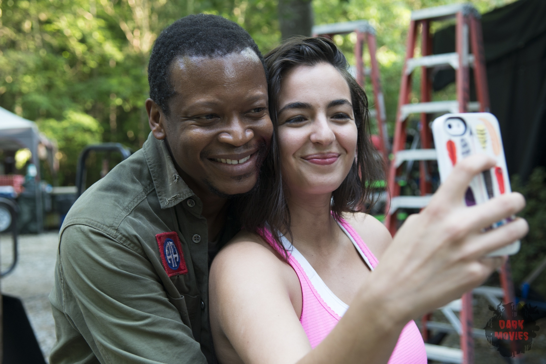 Lawrence Gilliard Jr. and Alanna Masterson - The Walking Dead _ Season 5, Episode 3 _ BTS - Photo Credit: Gene Page/AMC
