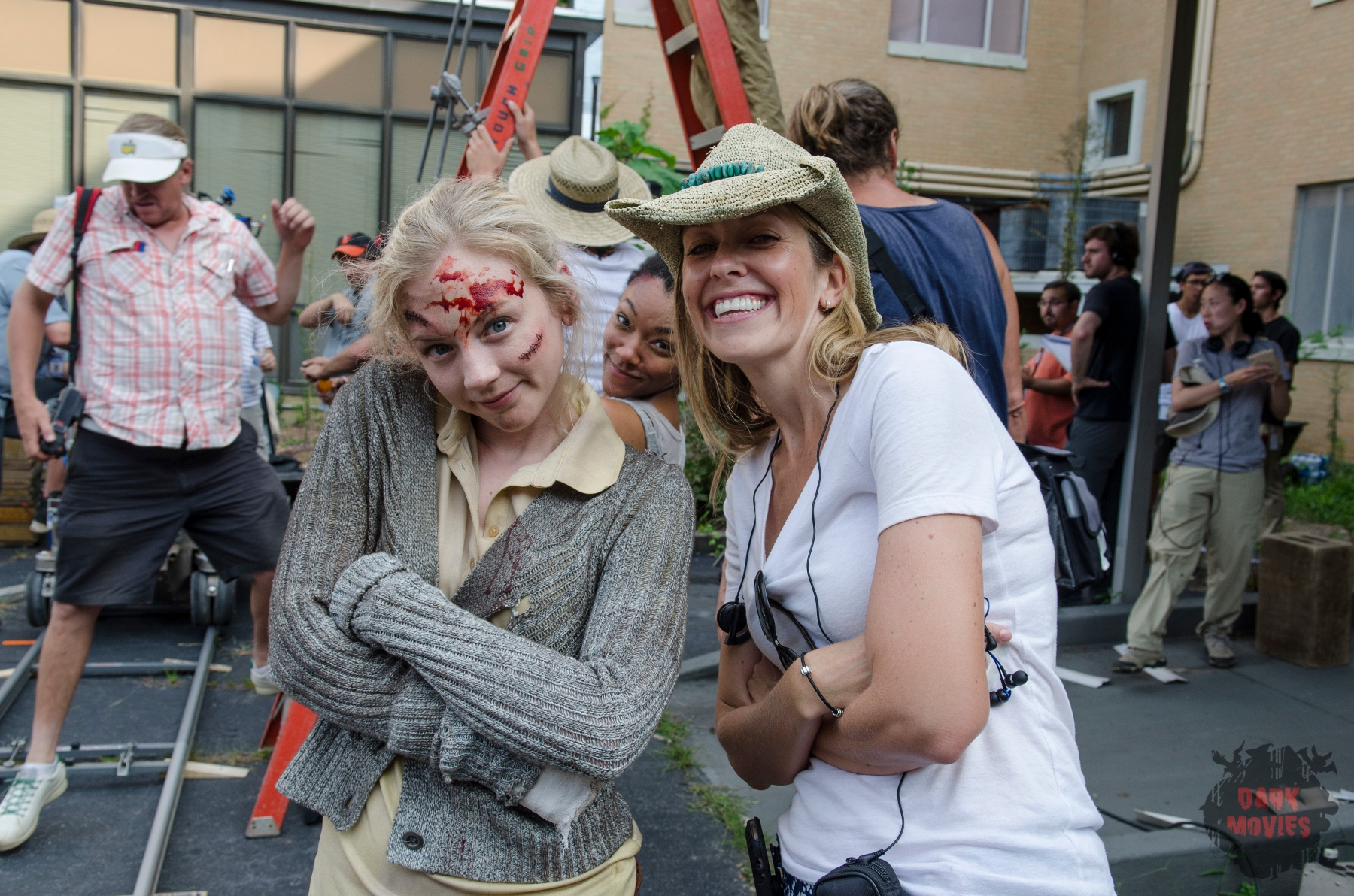 Emily Kinney, Sonequa Martin-Green and Denise Huth - The Walking Dead _ Season 5, Episode 8 _ BTS - Photo Credit: Gene Page/AMC